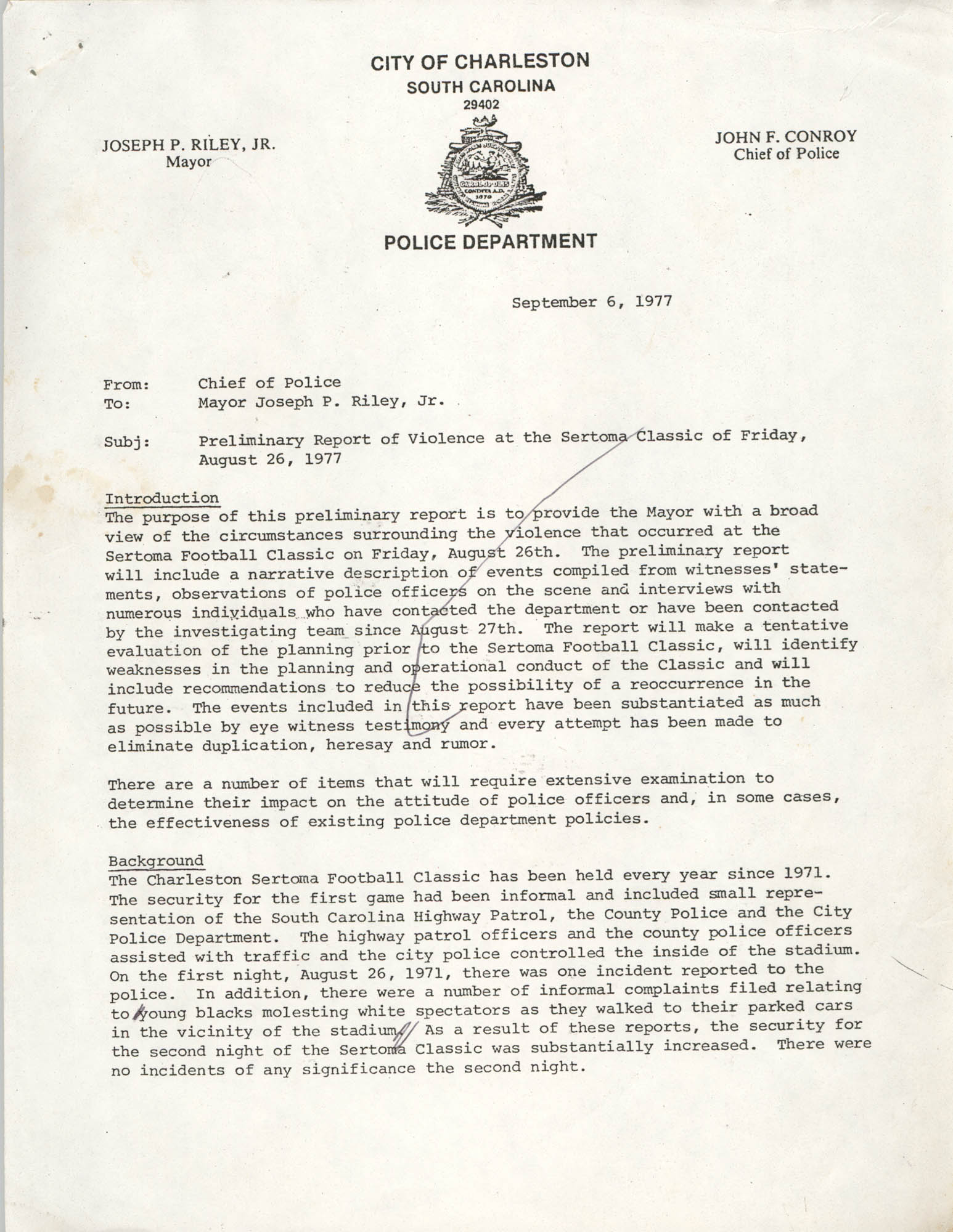 City of Charleston South Carolina Police Department Memorandum, September 6, 1977, Page 1