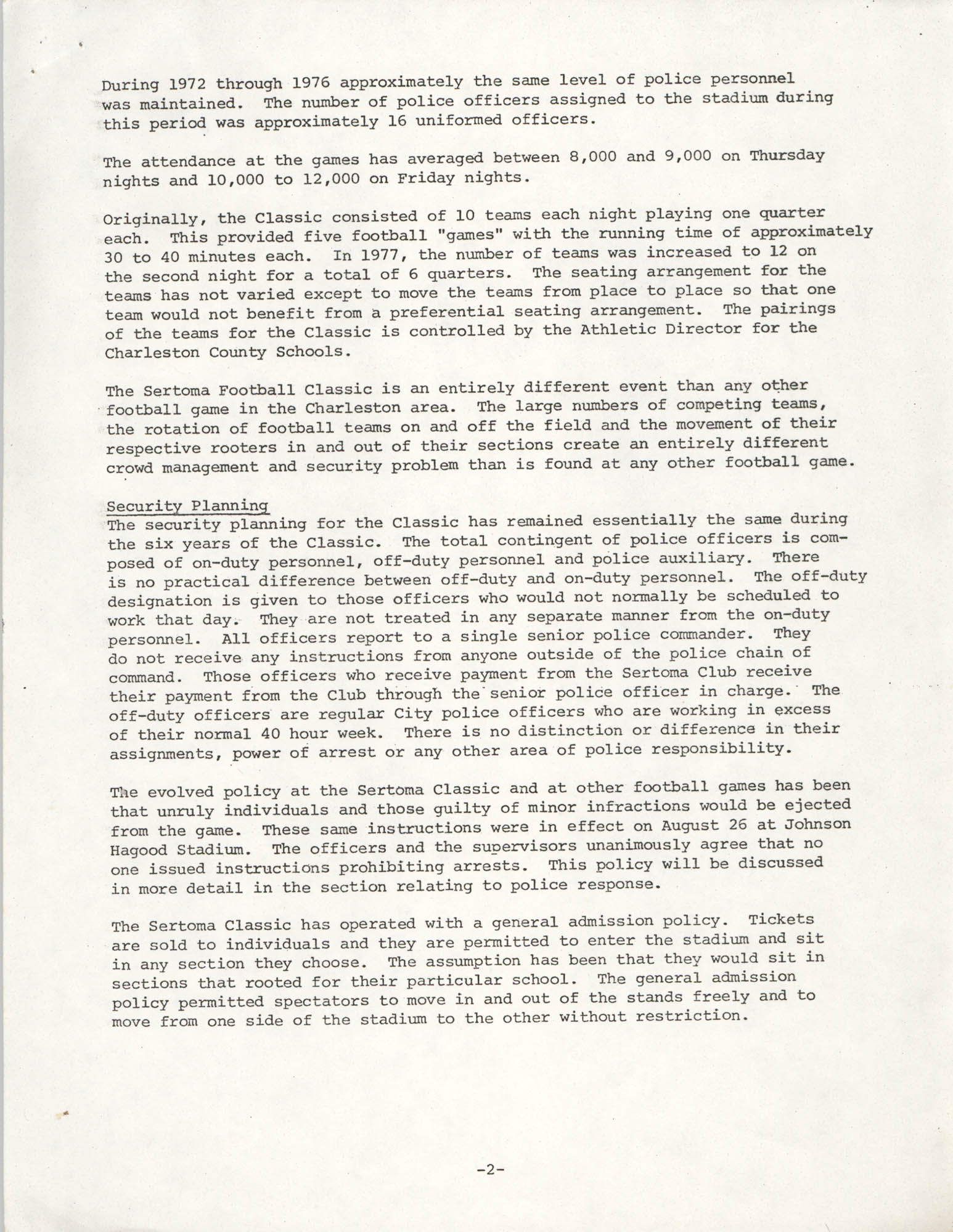 City of Charleston South Carolina Police Department Memorandum, September 6, 1977, Page 2