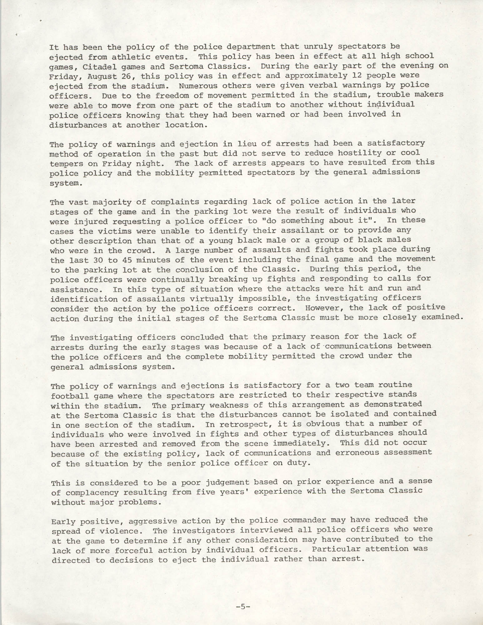 City of Charleston South Carolina Police Department Memorandum, September 6, 1977, Page 5