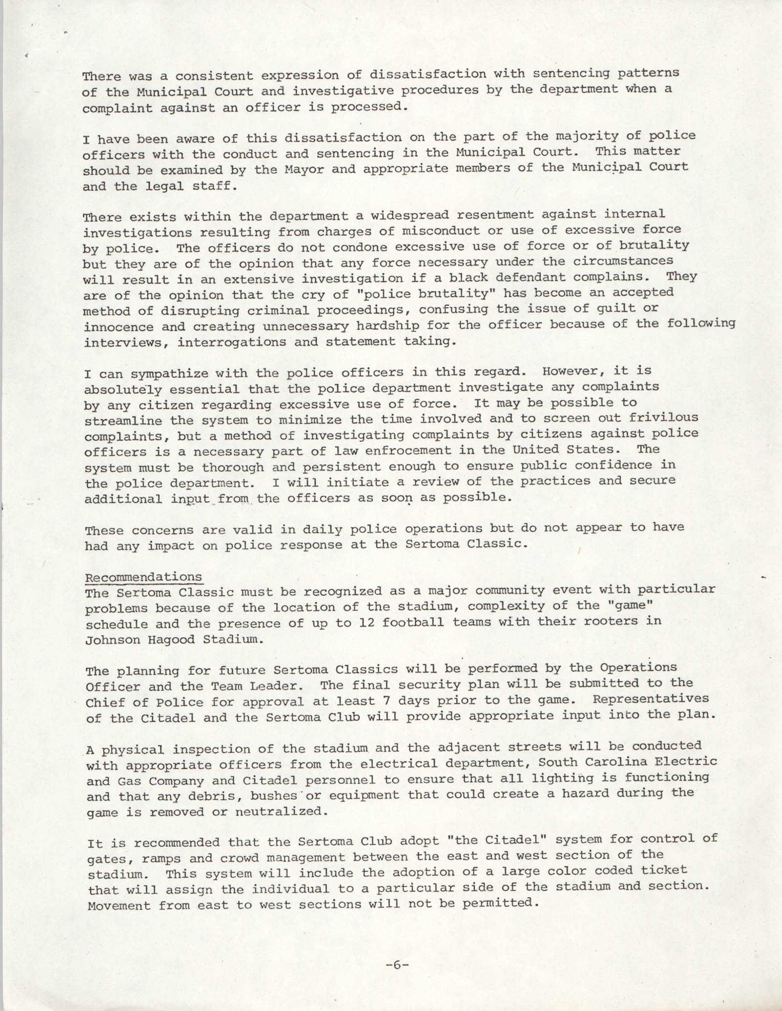 City of Charleston South Carolina Police Department Memorandum, September 6, 1977, Page 6