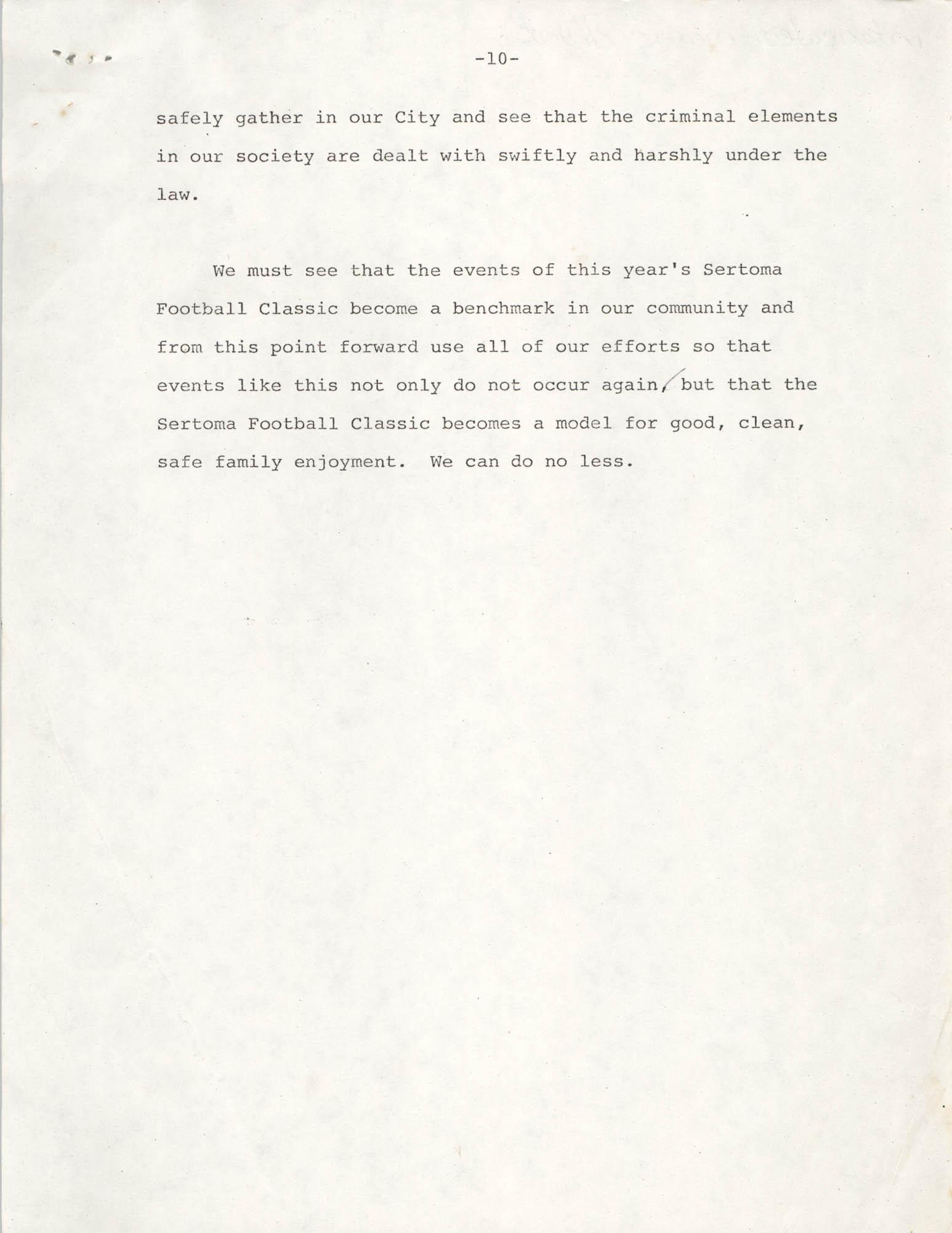 Typescript Speech on the Sertoma Football Classic, Page 10