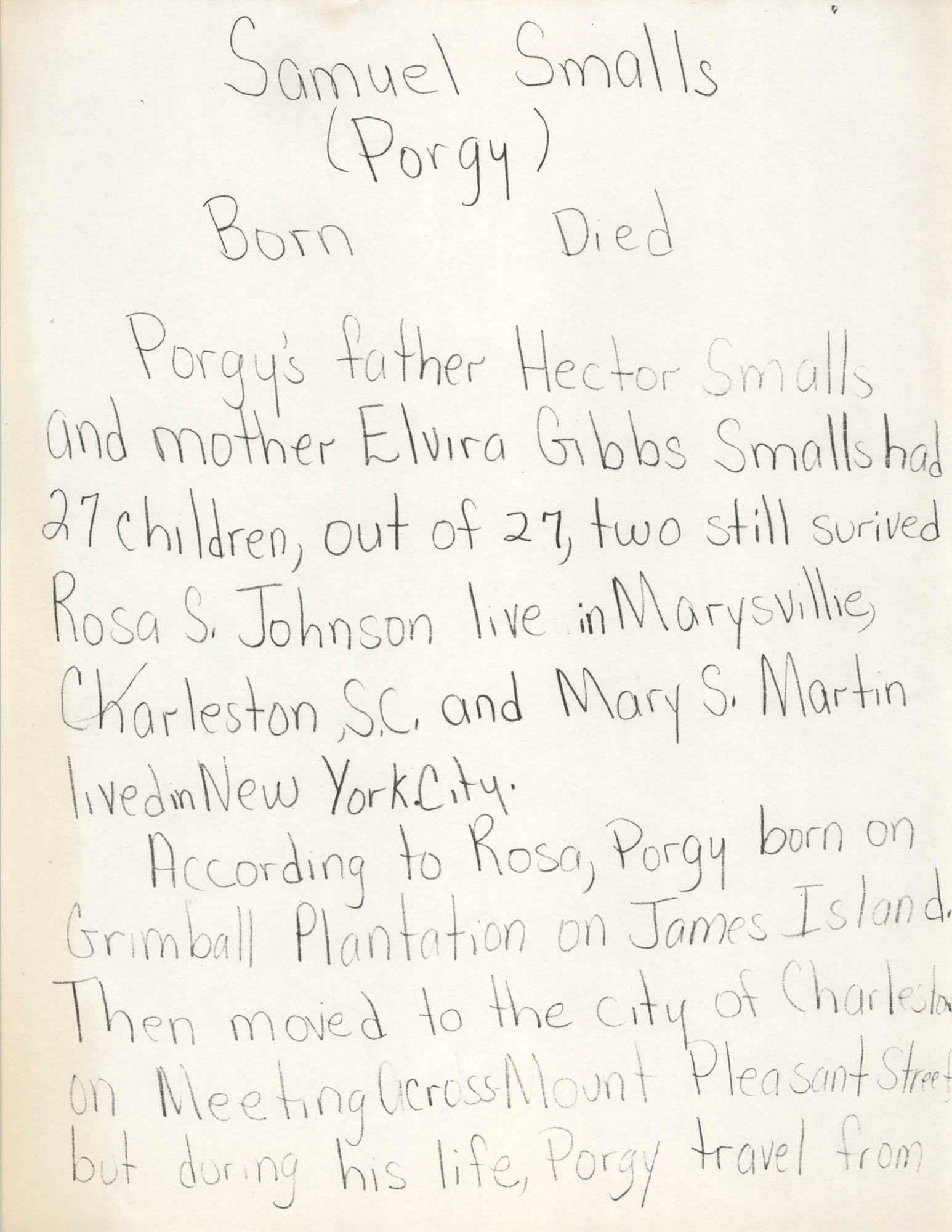 Samuel Smalls Biography, Page 1