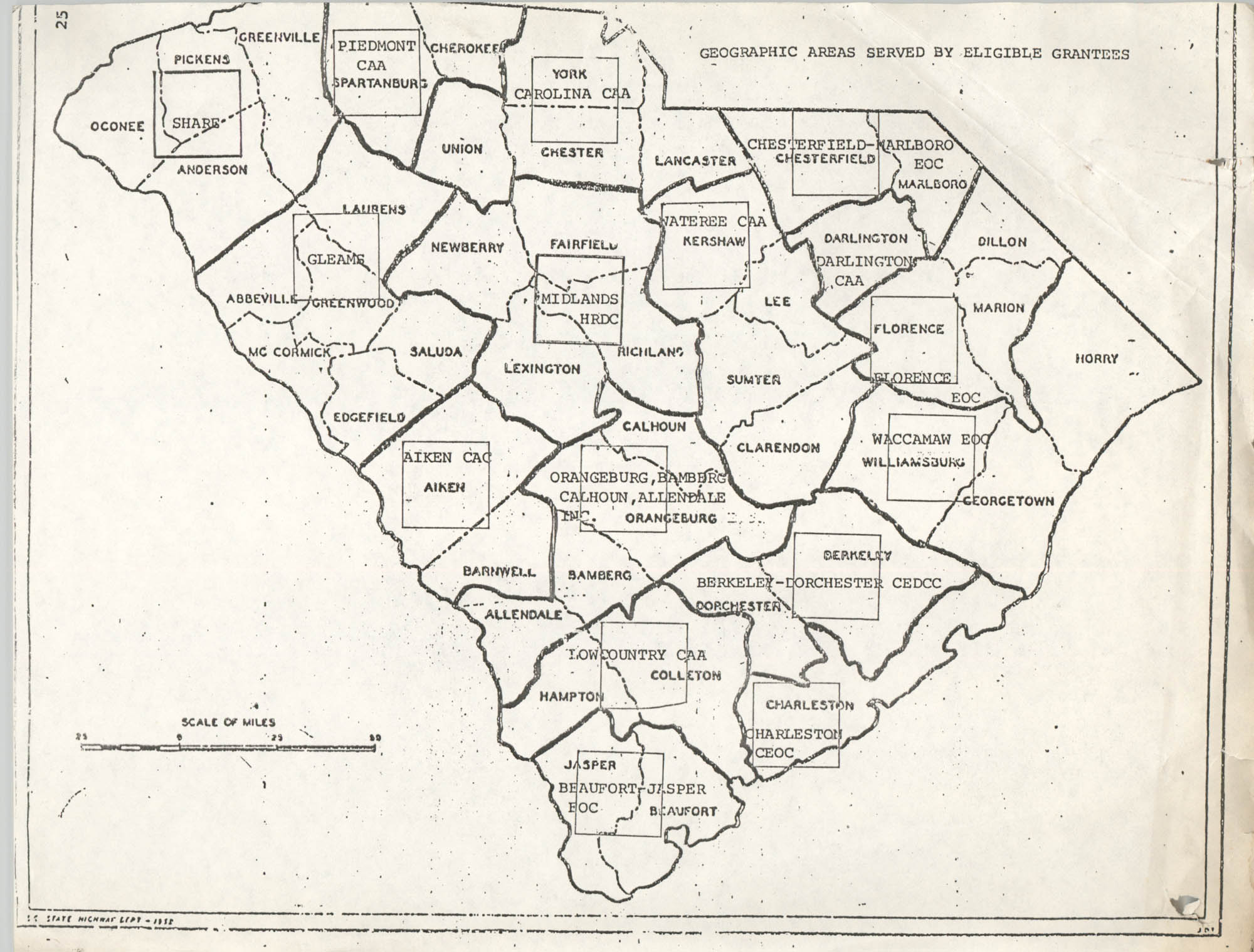 South Carolina State Plan for Implementation of the Community Services Block Grant, South Carolina Map