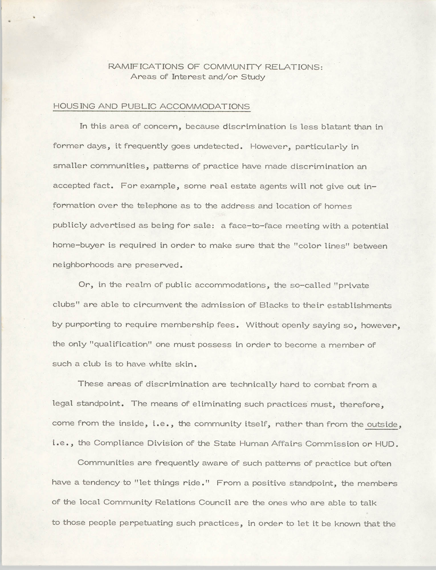 Ramifications of Community Relations: Areas of Interest and/or Study, Page 1