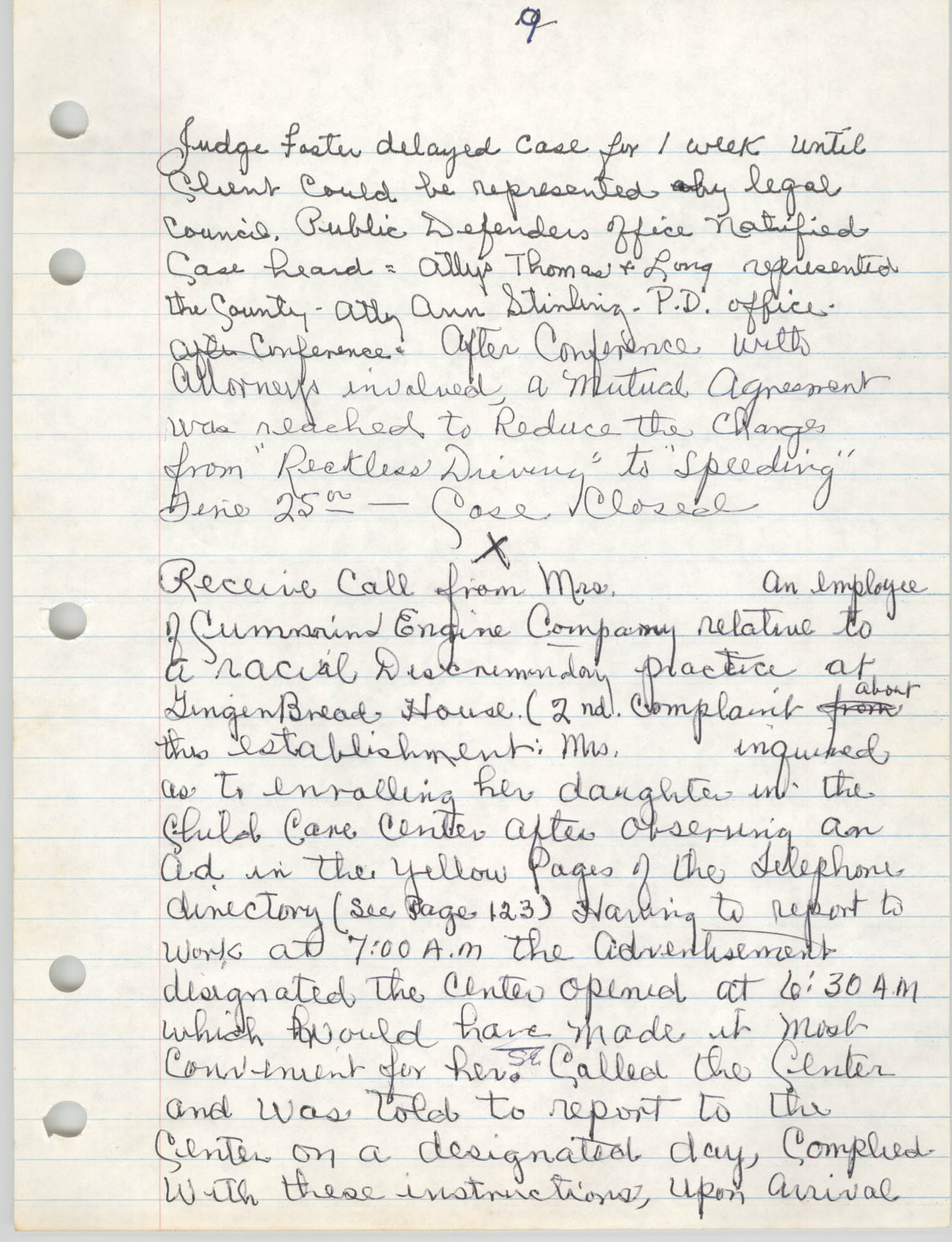 Handwritten Meeting Notes, 1975, Page 9