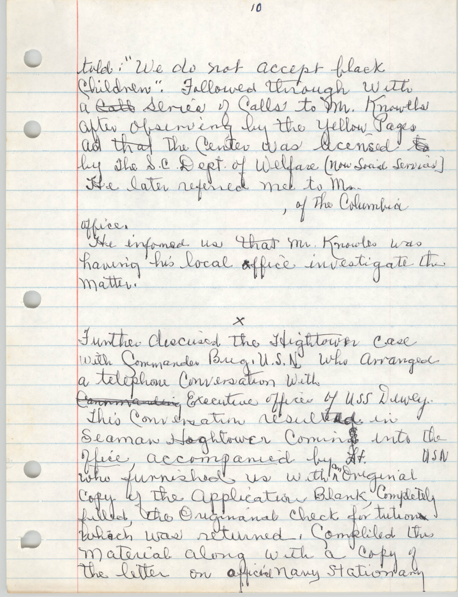 Handwritten Meeting Notes, 1975, Page 10