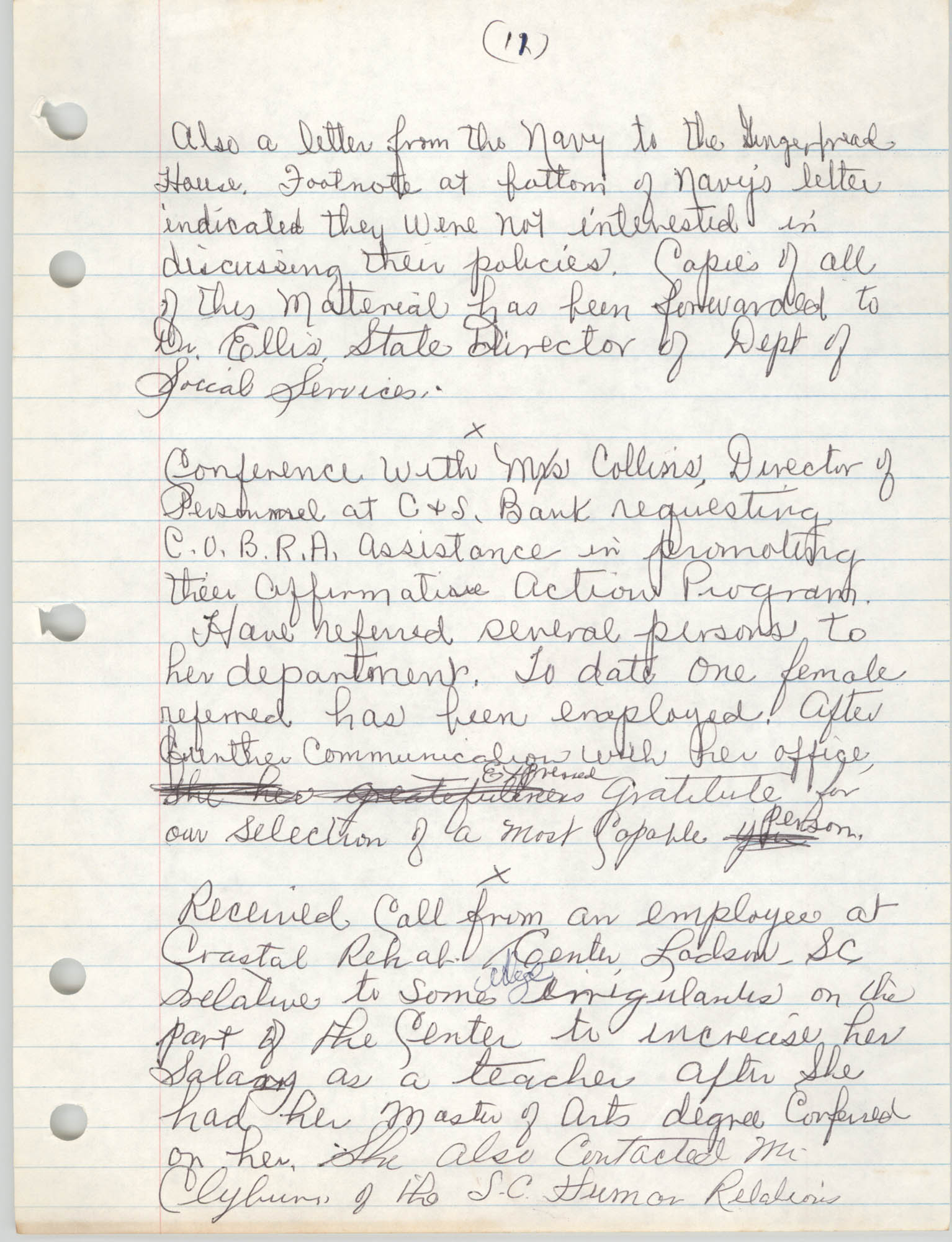 Handwritten Meeting Notes, 1975, Page 11