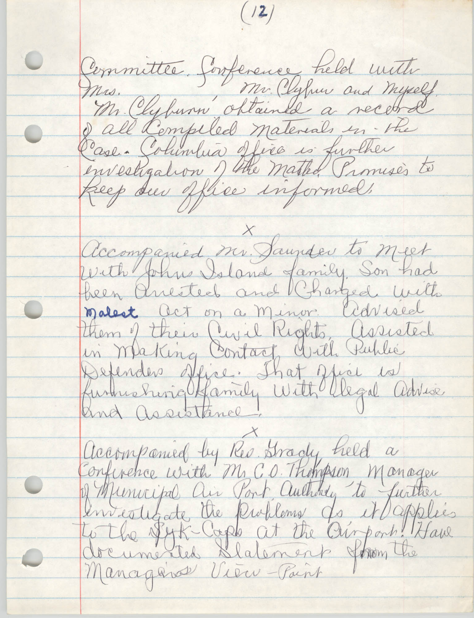 Handwritten Meeting Notes, 1975, Page 12