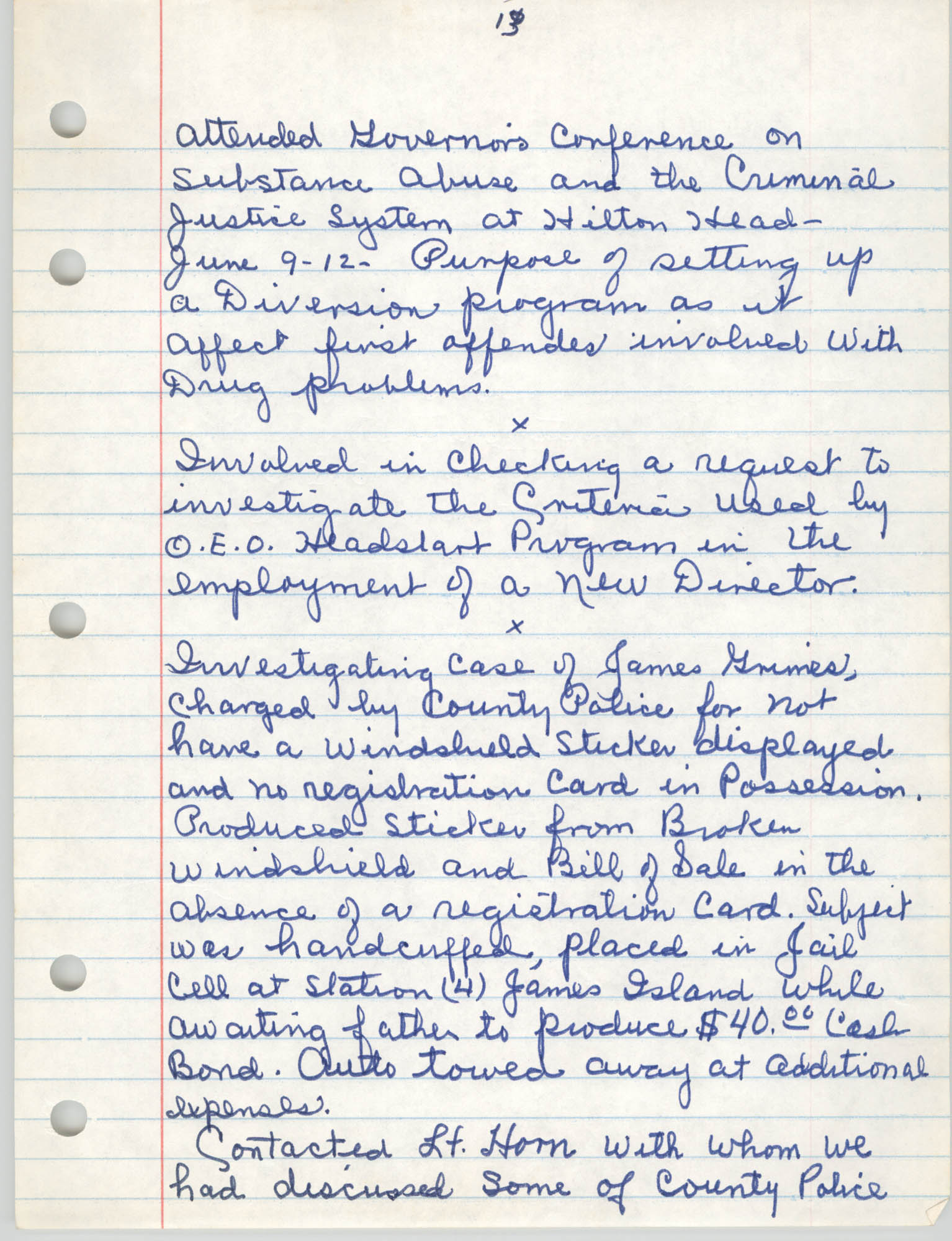 Handwritten Meeting Notes, 1975, Page 13