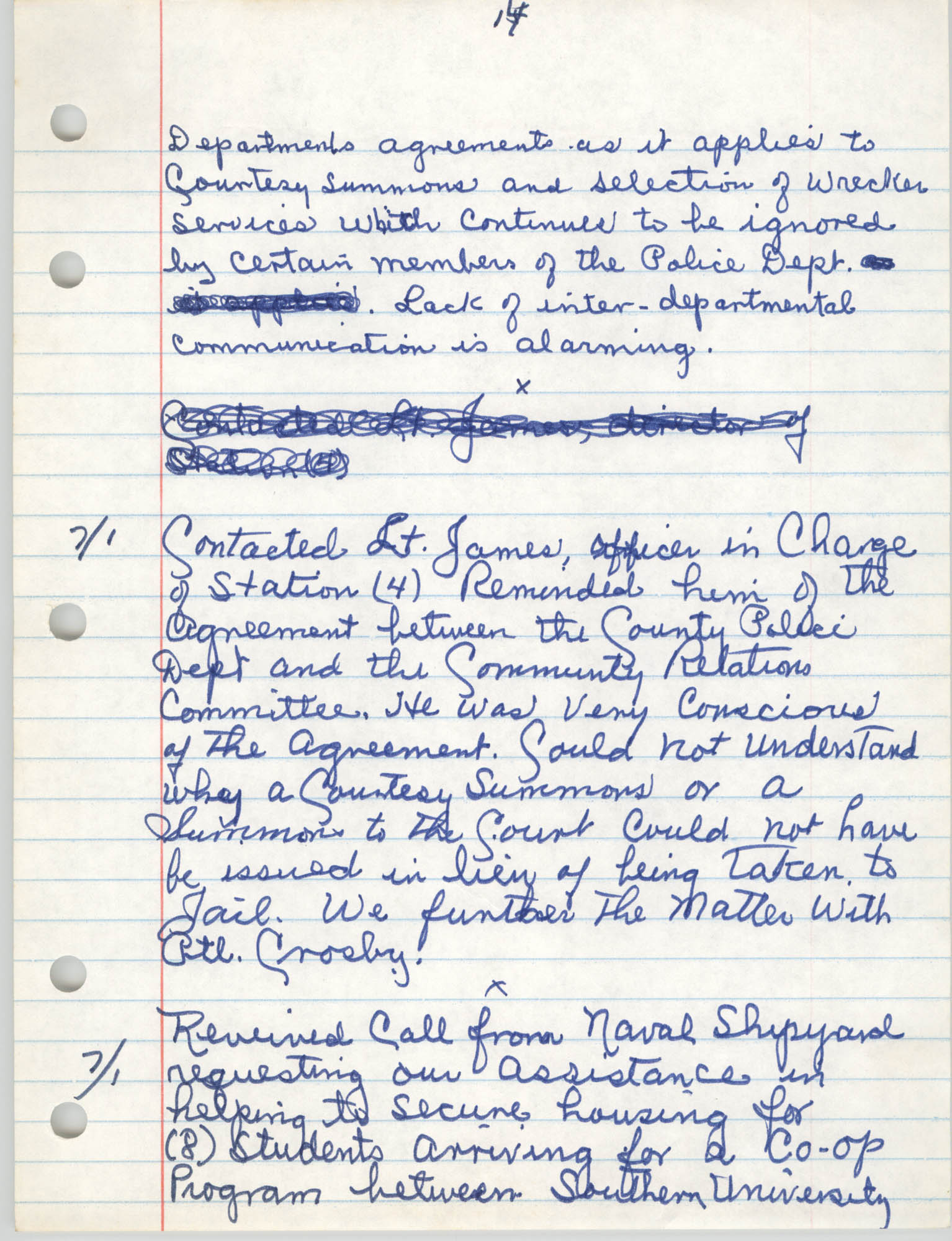 Handwritten Meeting Notes, 1975, Page 14