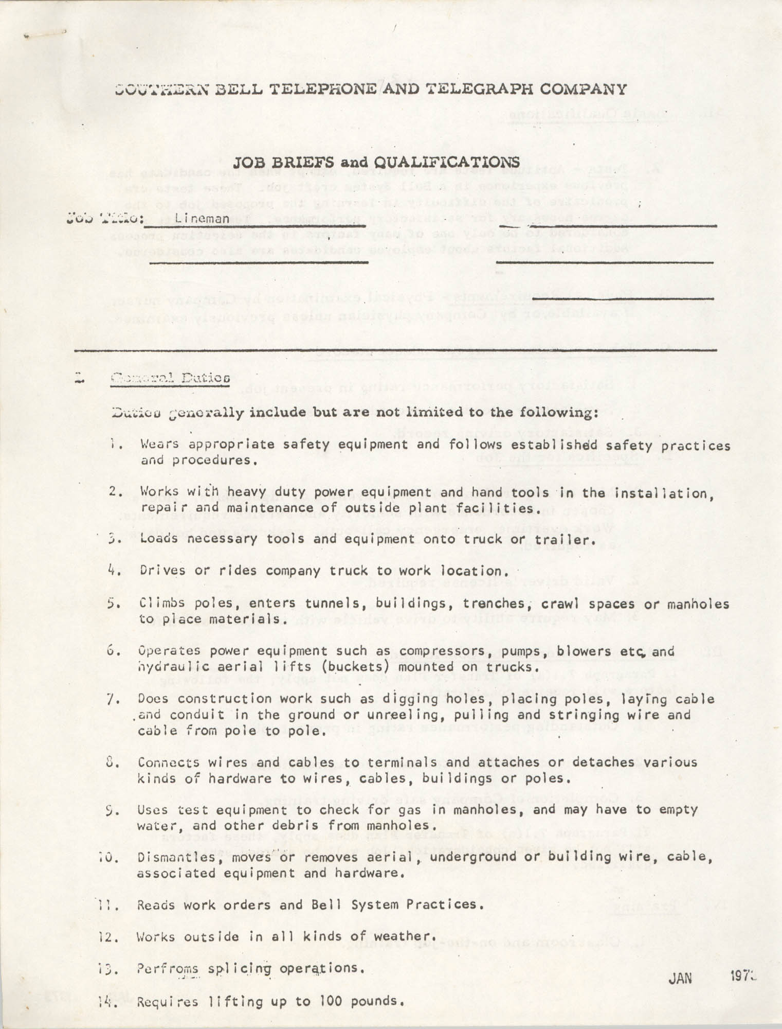 Southern Bell Telephone and Telegraph Company Job Briefs and Qualifications, Lineman, Page 1