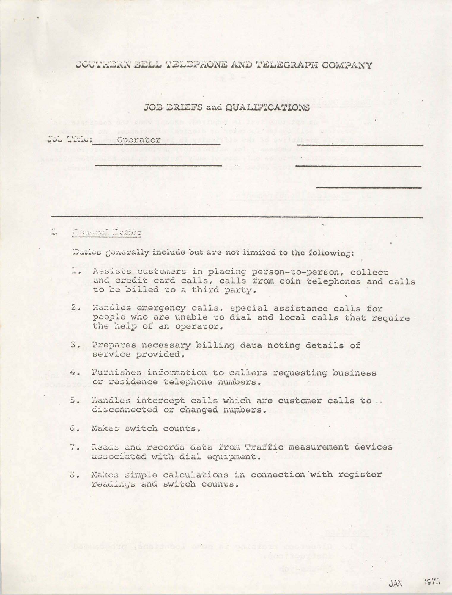 Southern Bell Telephone and Telegraph Company Job Briefs and Qualifications, Operator, Page 1