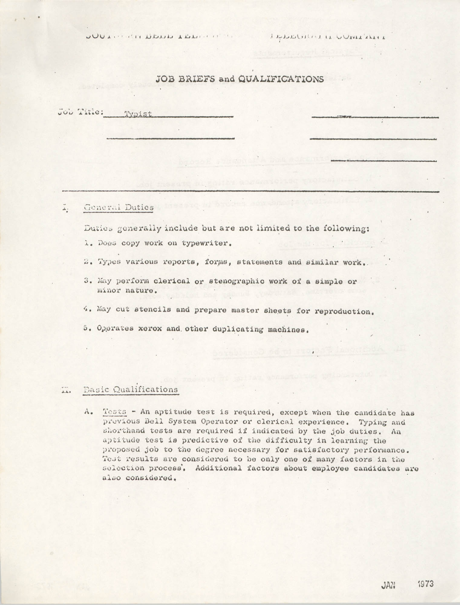 Southern Bell Telephone and Telegraph Company Job Briefs and Qualifications, Typist, Page 1