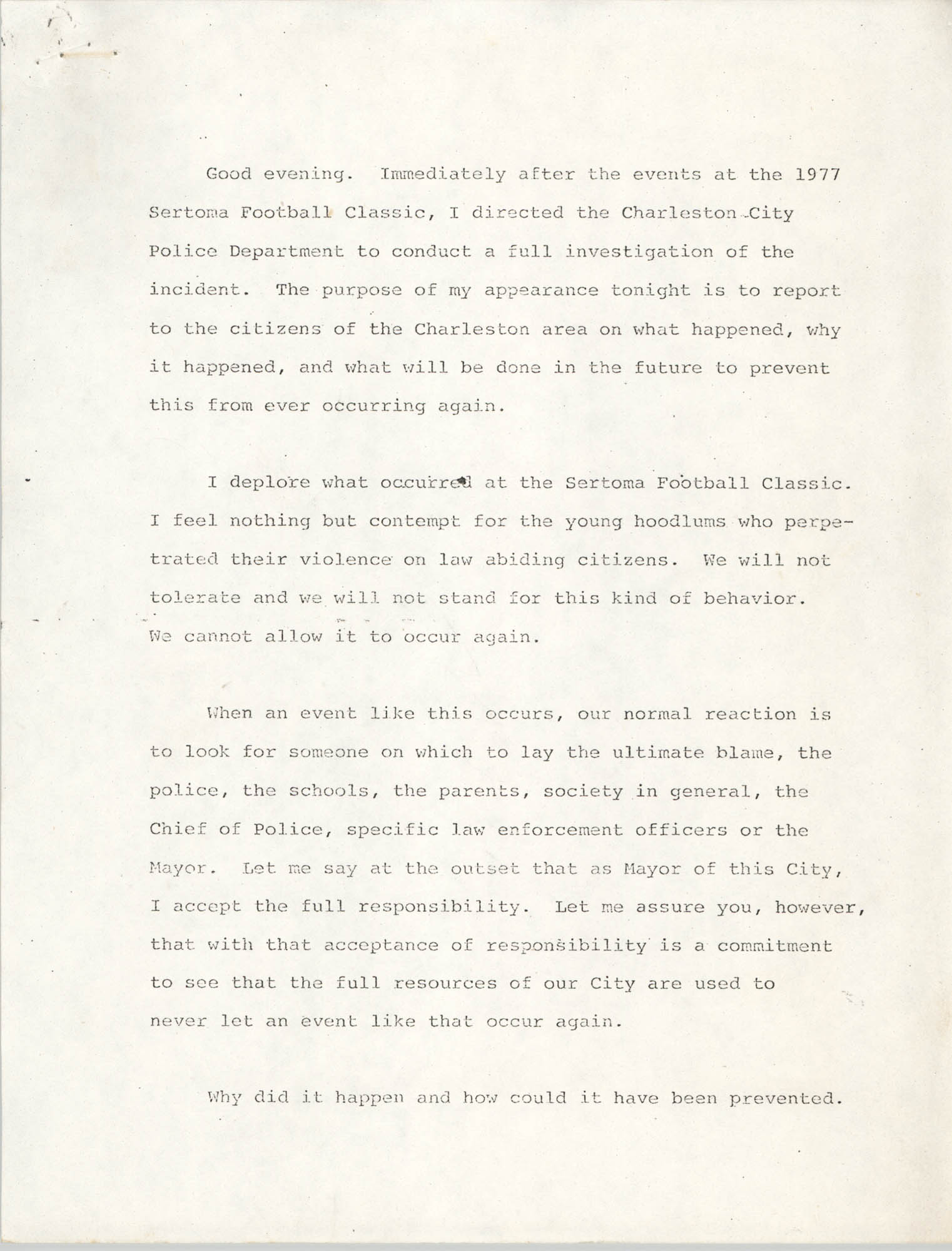 Statement by Joseph P. Riley, Jr., Sertoma Football Classic 1977 Incident, Page 1