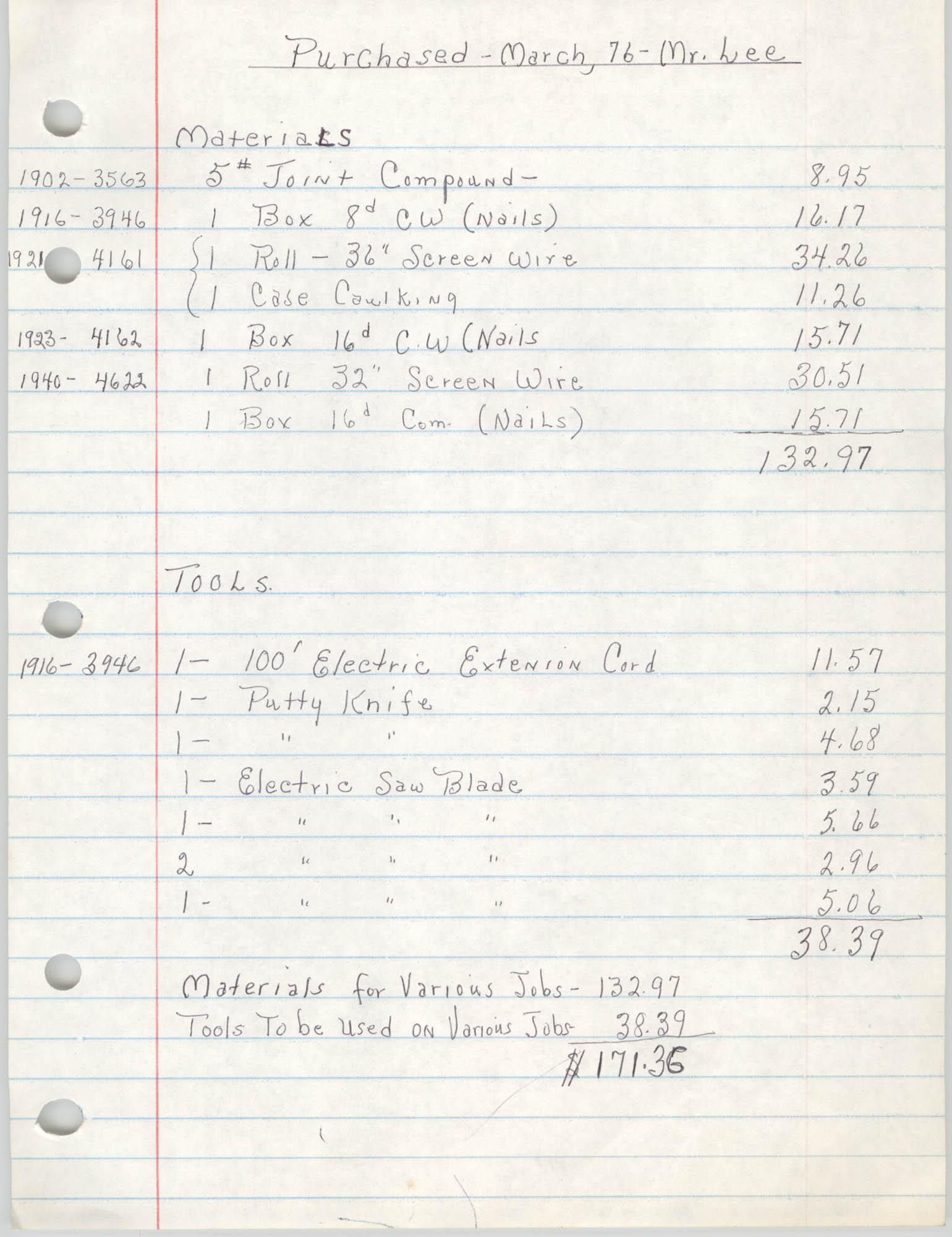 COBRA Chore Services, March 1976, Materials and Tools