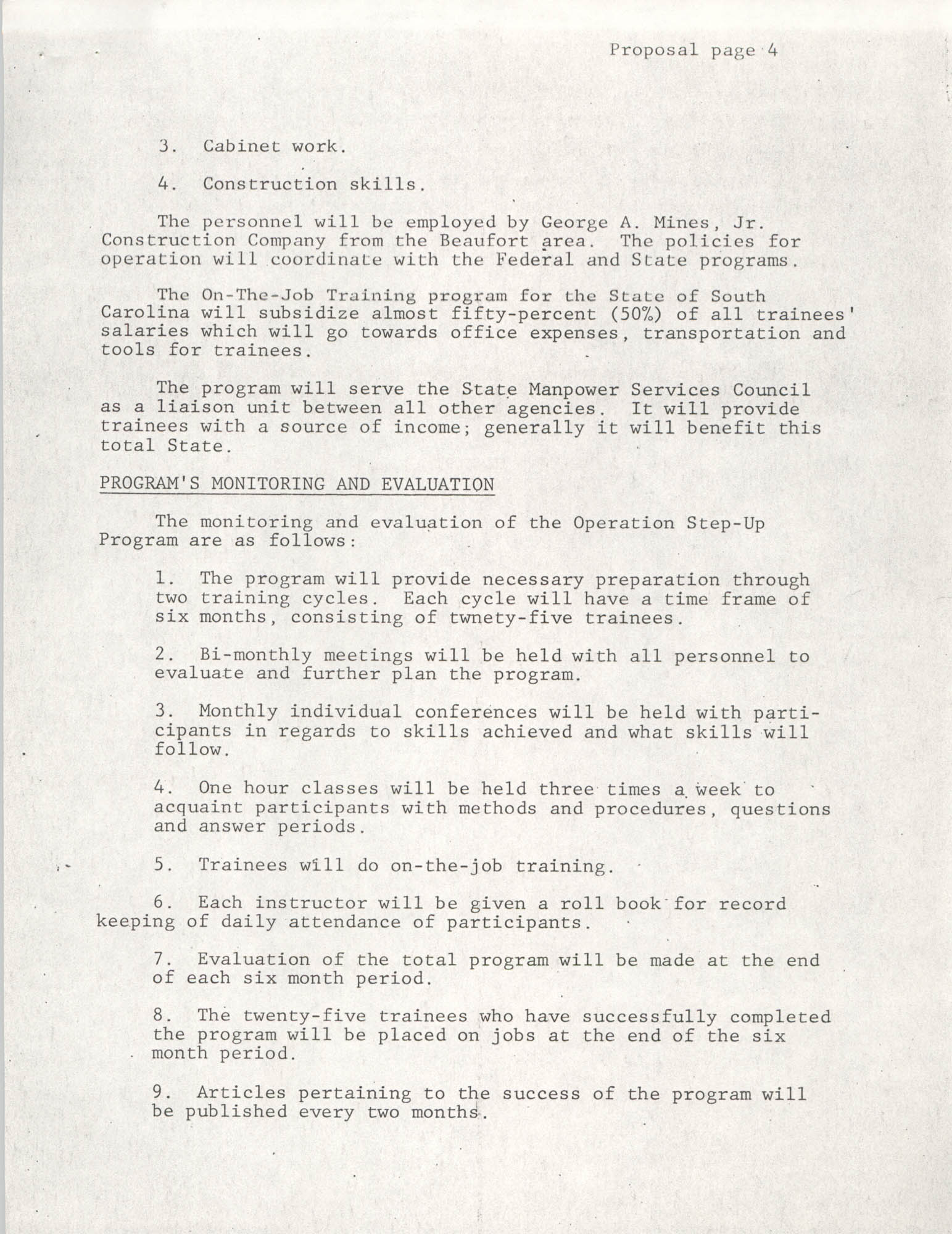 Operation Step-up, Proposal, Page 4
