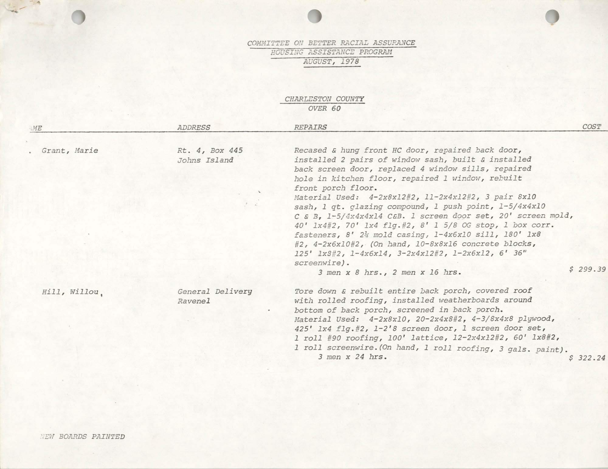 Housing Assistance Program Report, August 1978, Page 1