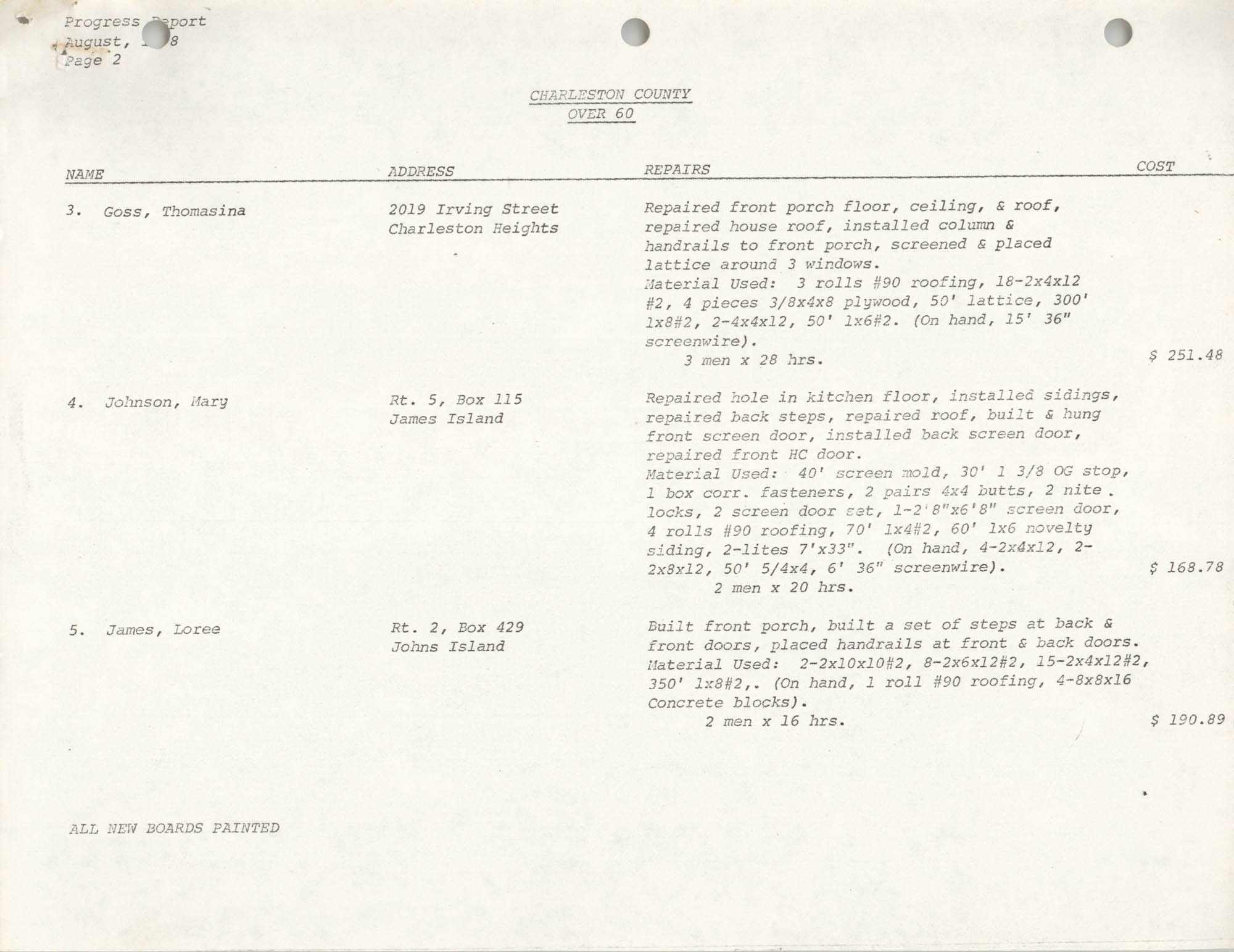 Housing Assistance Program Report, August 1978, Page 2
