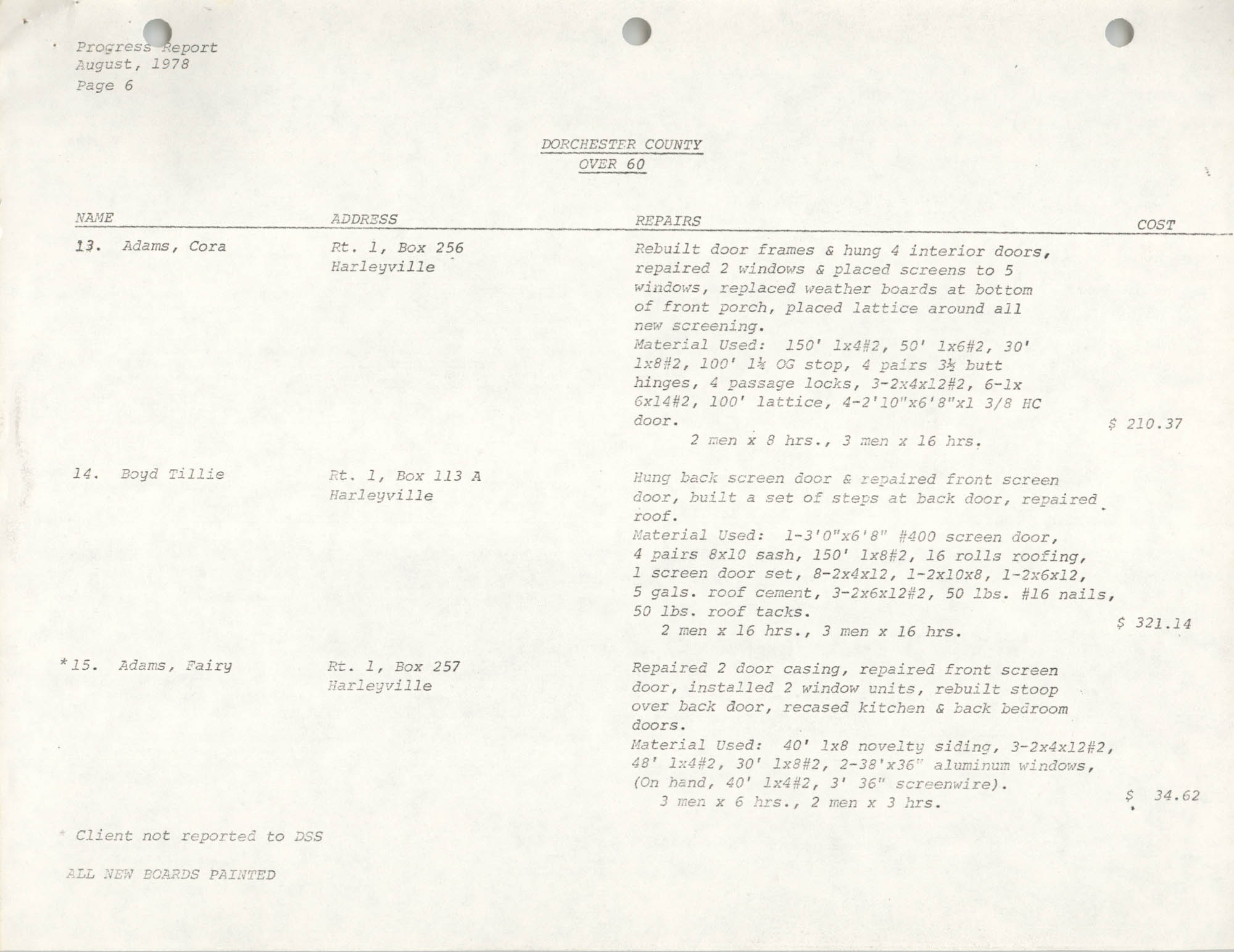 Housing Assistance Program Report, August 1978, Page 6