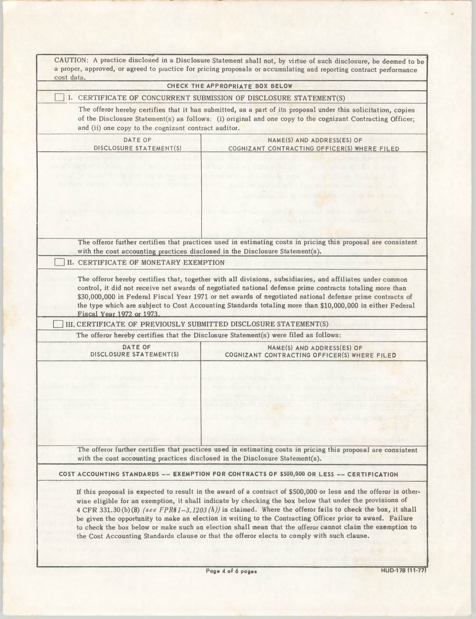 Request for Proposal H-4301, Certifications and Representations, Page 4