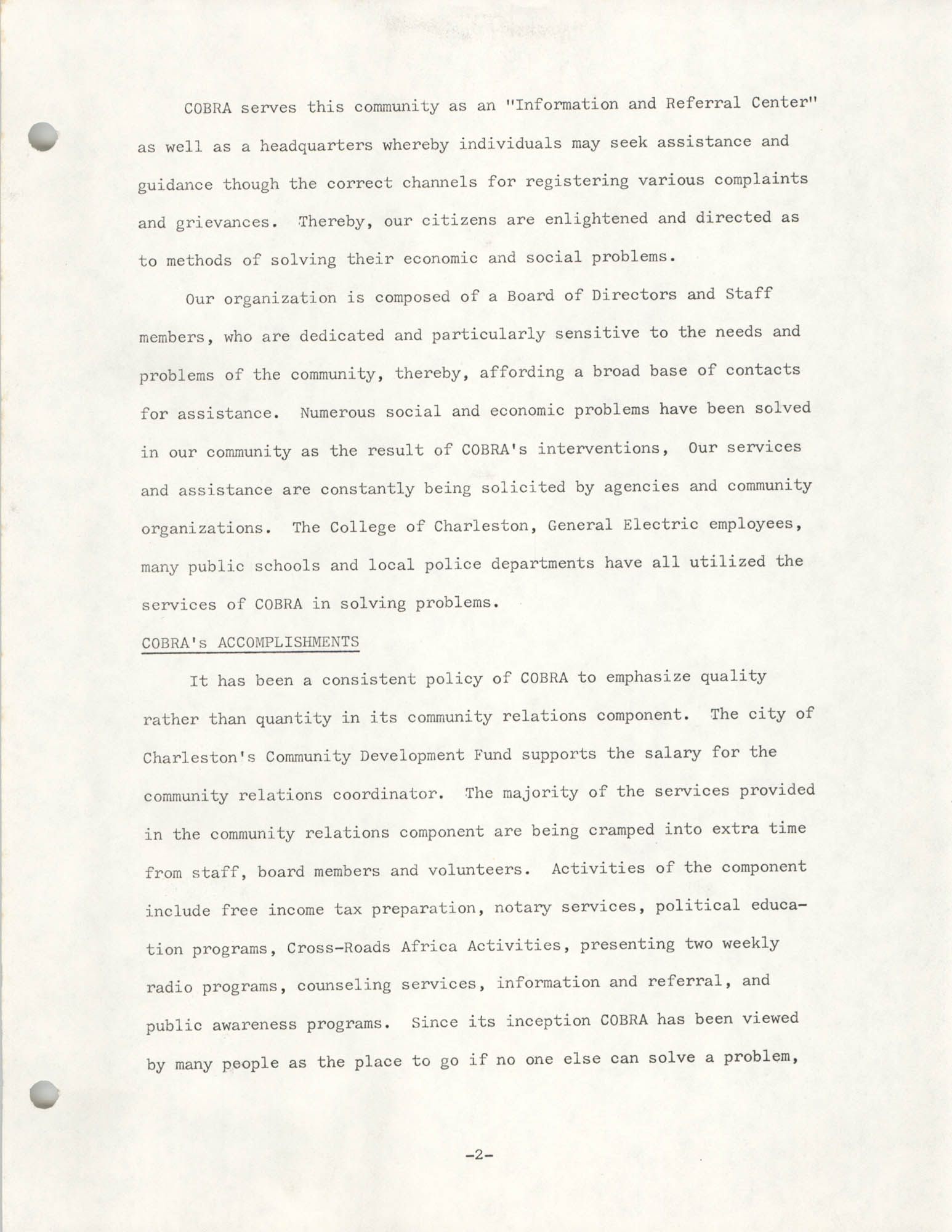 Organizational Information for COBRA, Page 2