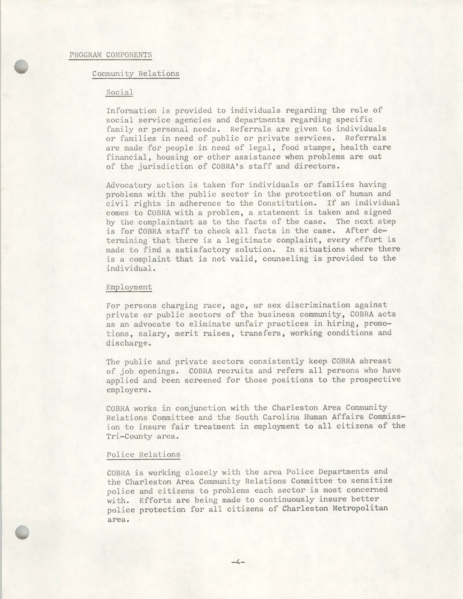 Organizational Information for COBRA, Page 4