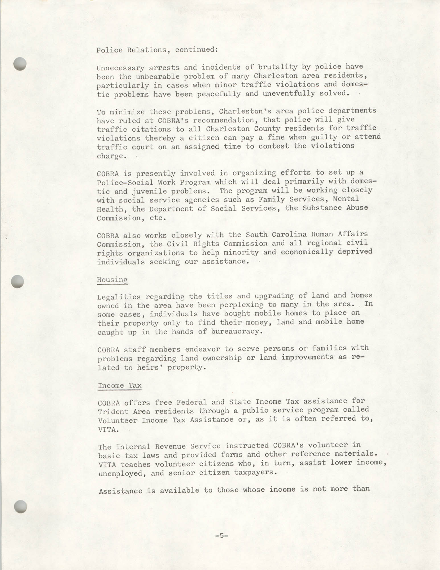 Organizational Information for COBRA, Page 5