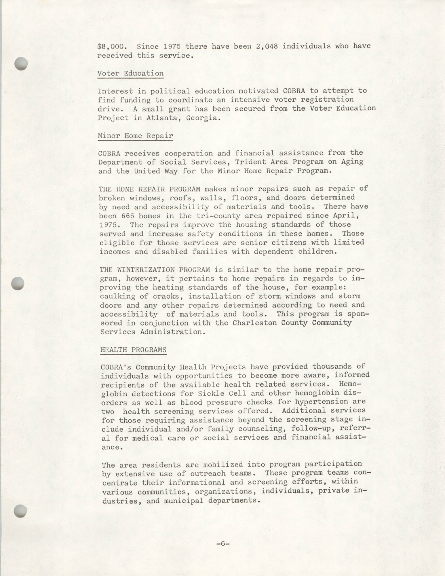 Organizational Information for COBRA, Page 6