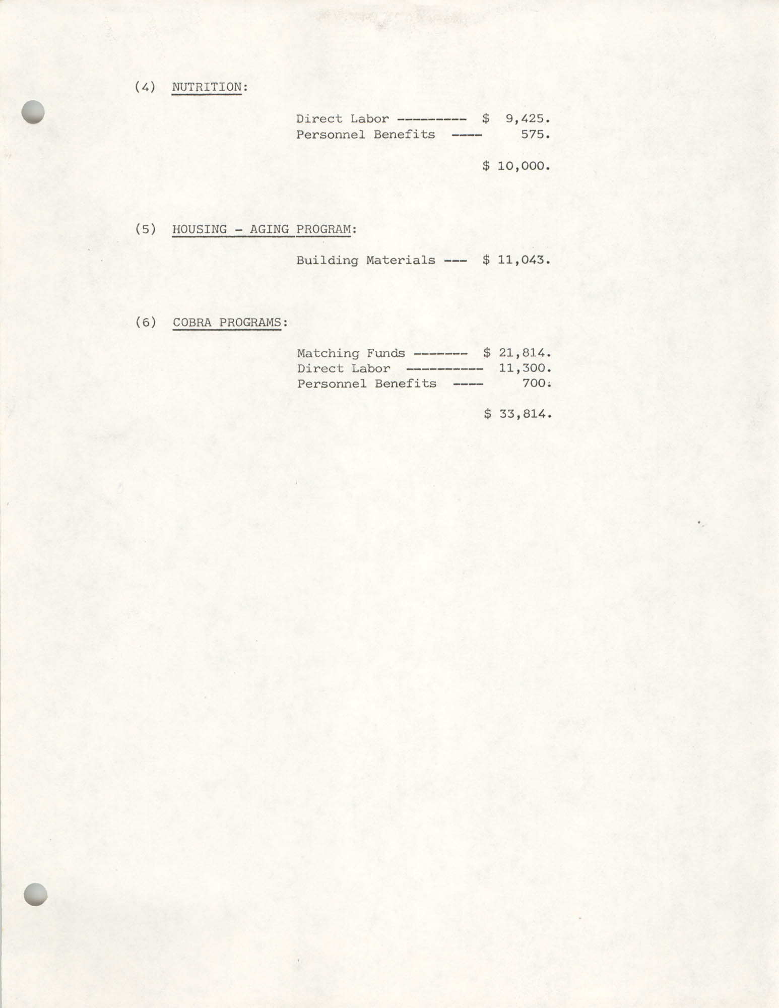 COBRA Budgetary Expenses, August 1978 to July 1979, Page 2