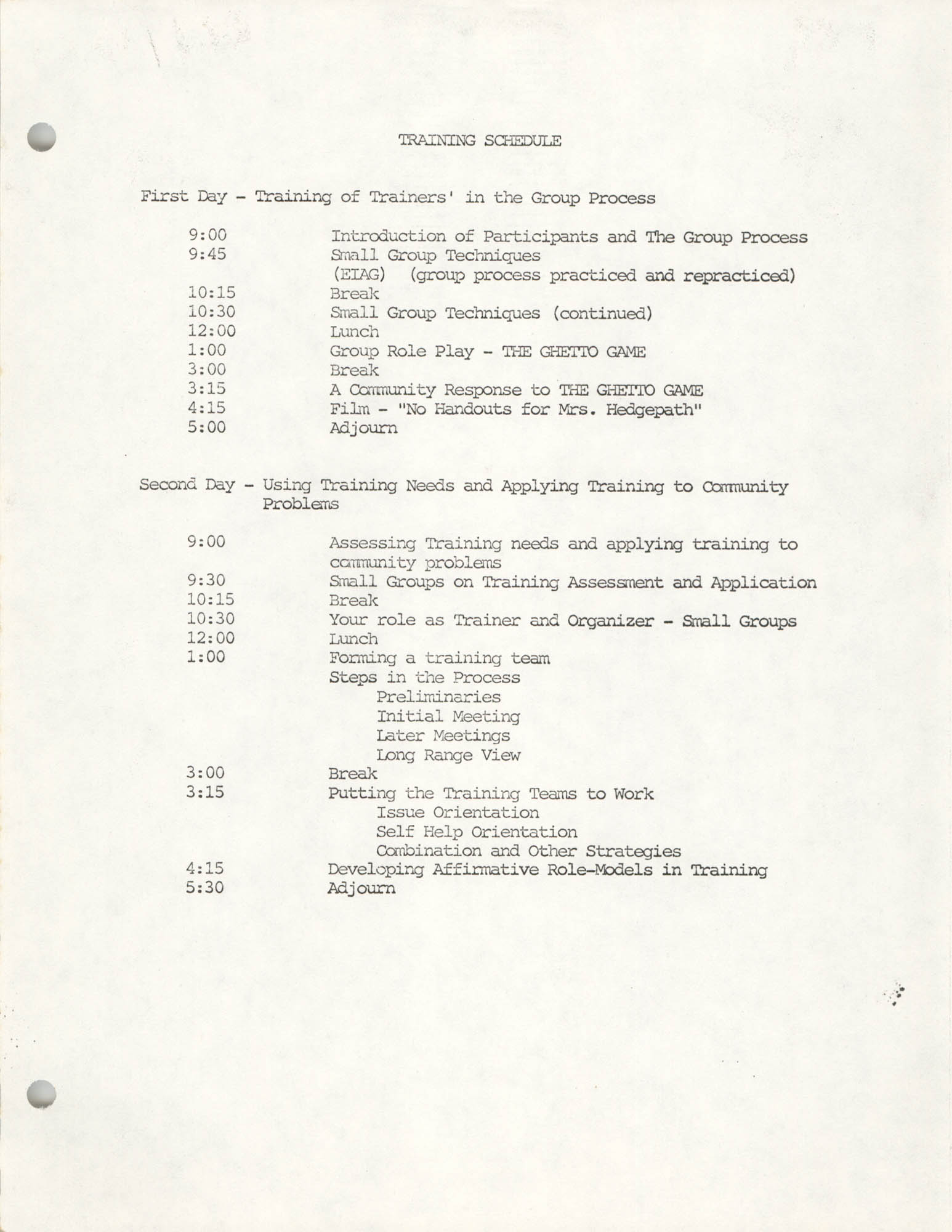 COBRA Training Schedule