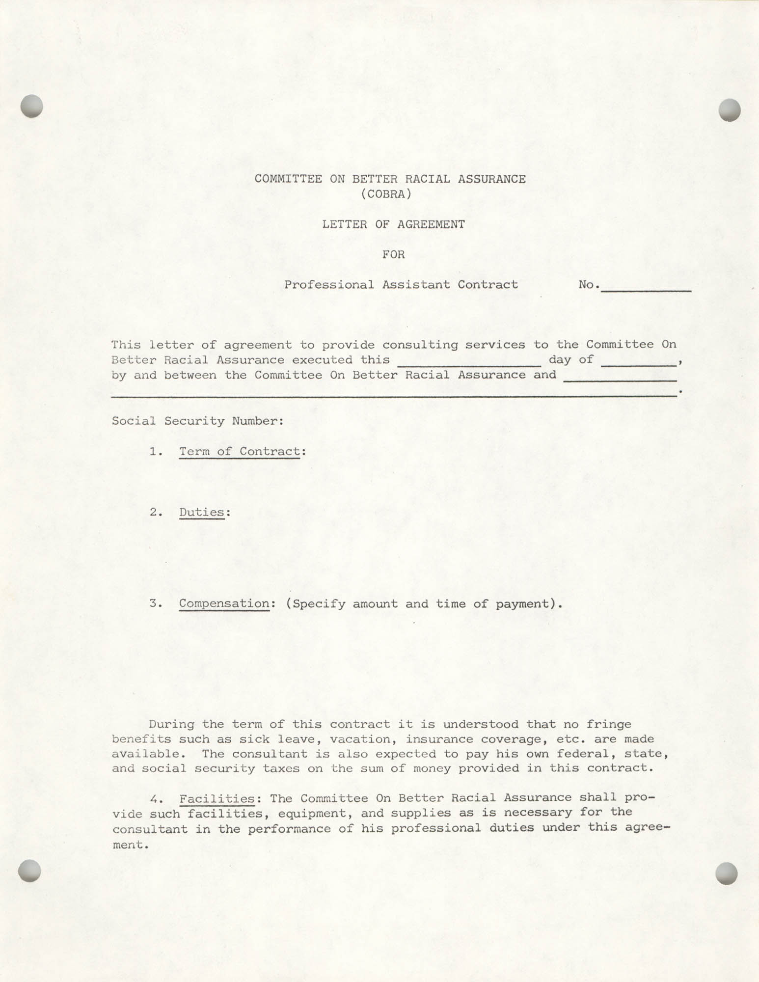 COBRA Letter of Agreement for Professional Assistant Contract, Page 1