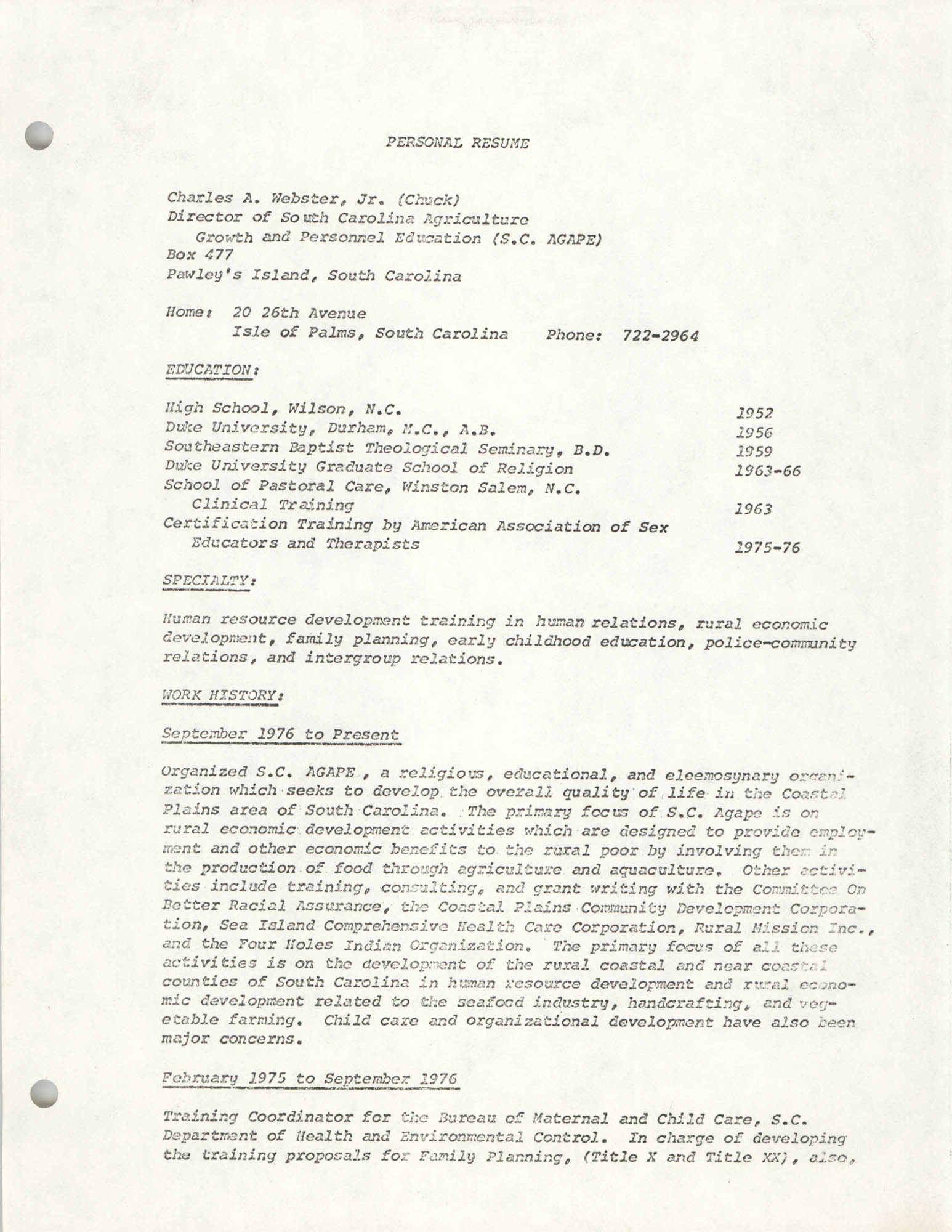 COBRA Consultant Resumes, Charles A. Webster, Jr., Page 1