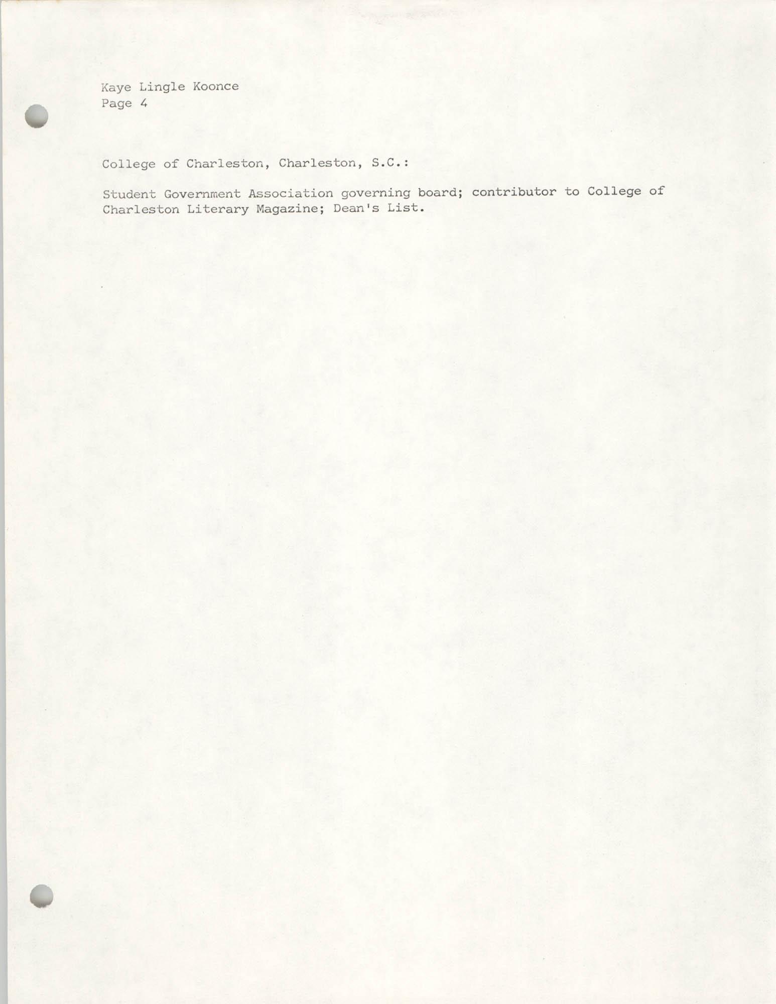 COBRA Consultant Resumes, Kaye Lingle Koonce, Page 4
