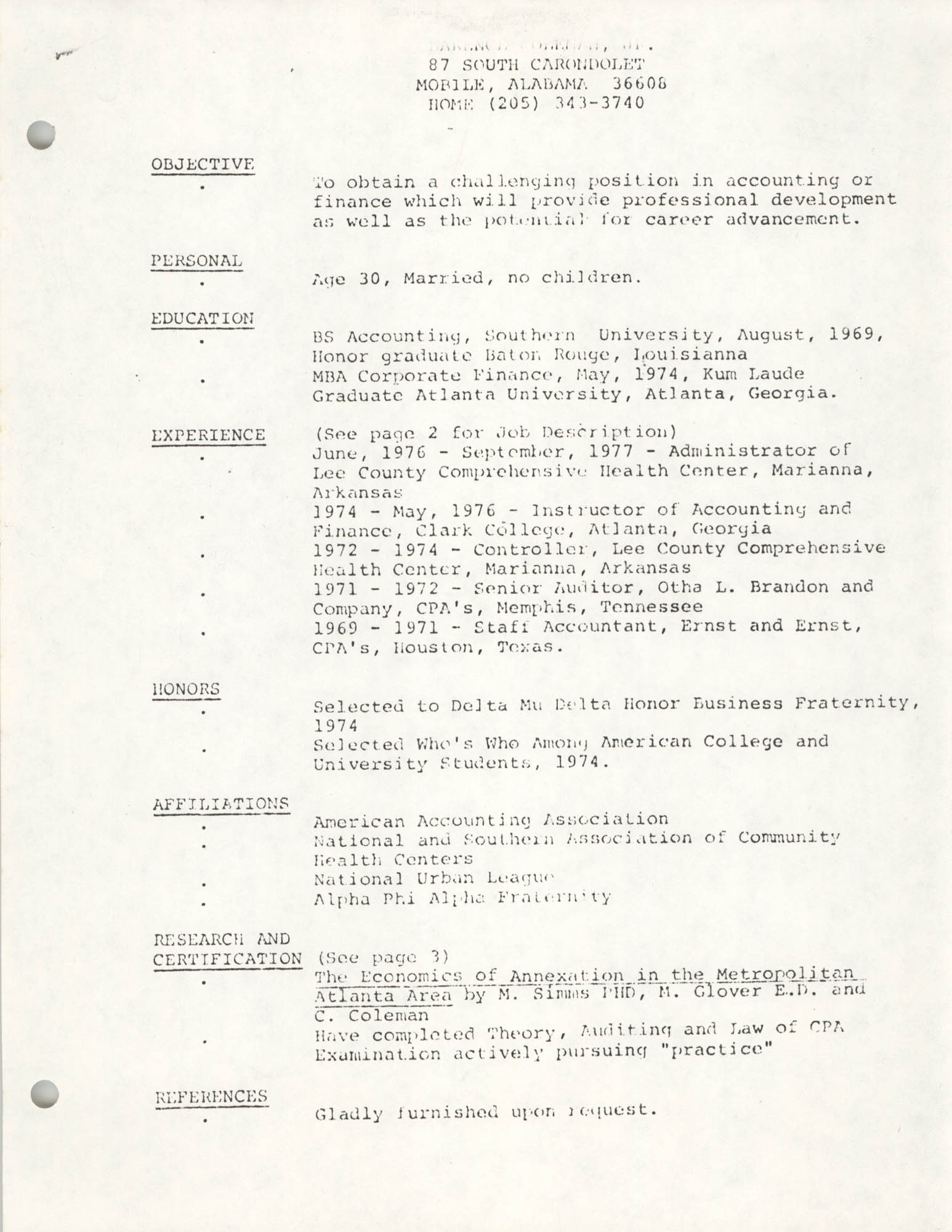 COBRA Consultant Resumes, Clarence Coleman, Jr., Page 1