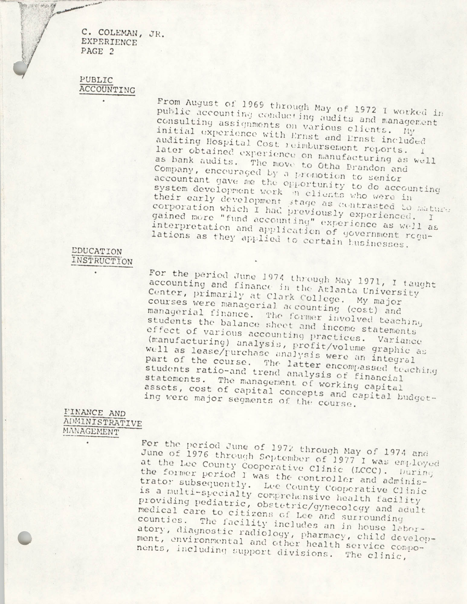 COBRA Consultant Resumes, Clarence Coleman, Jr., Page 2