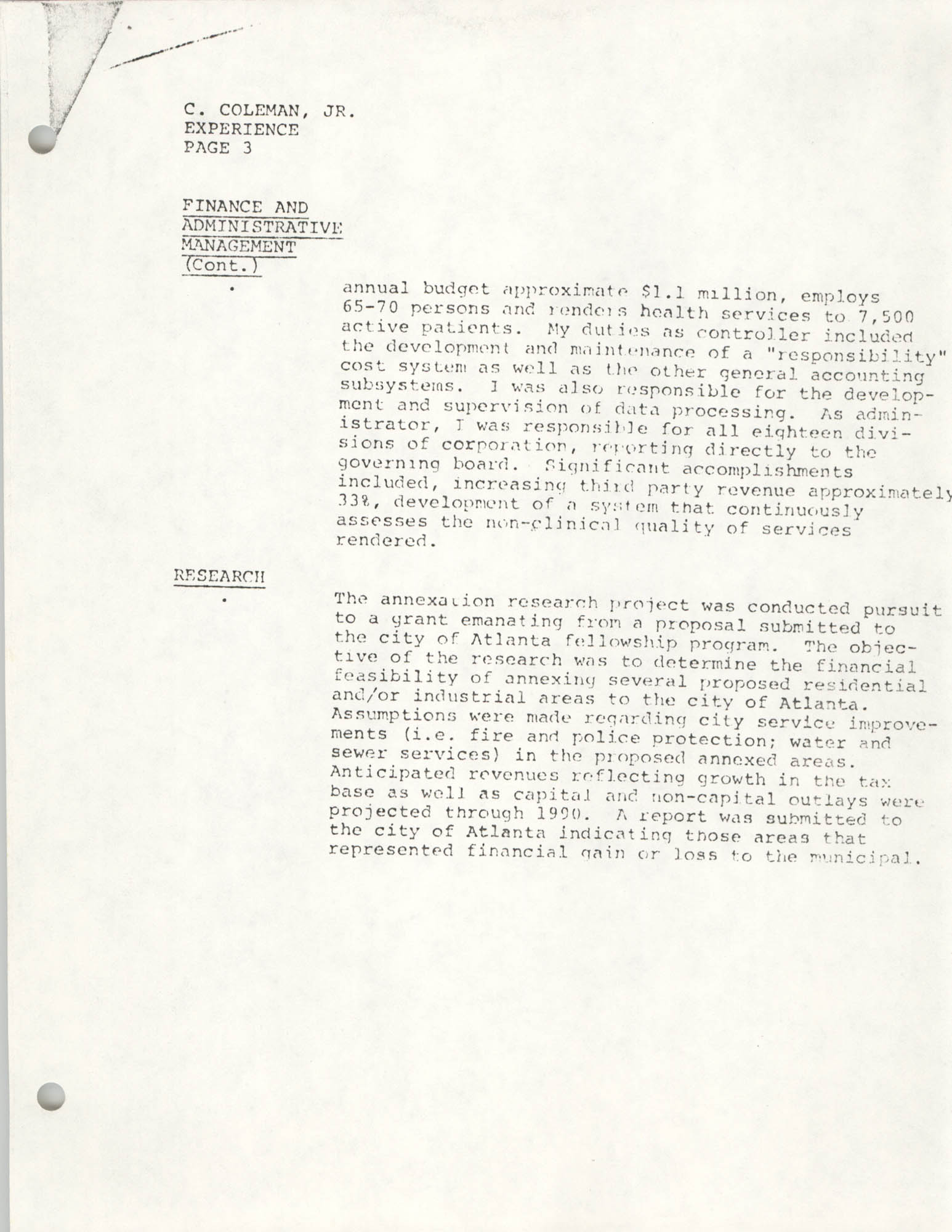 COBRA Consultant Resumes, Clarence Coleman, Jr., Page 3