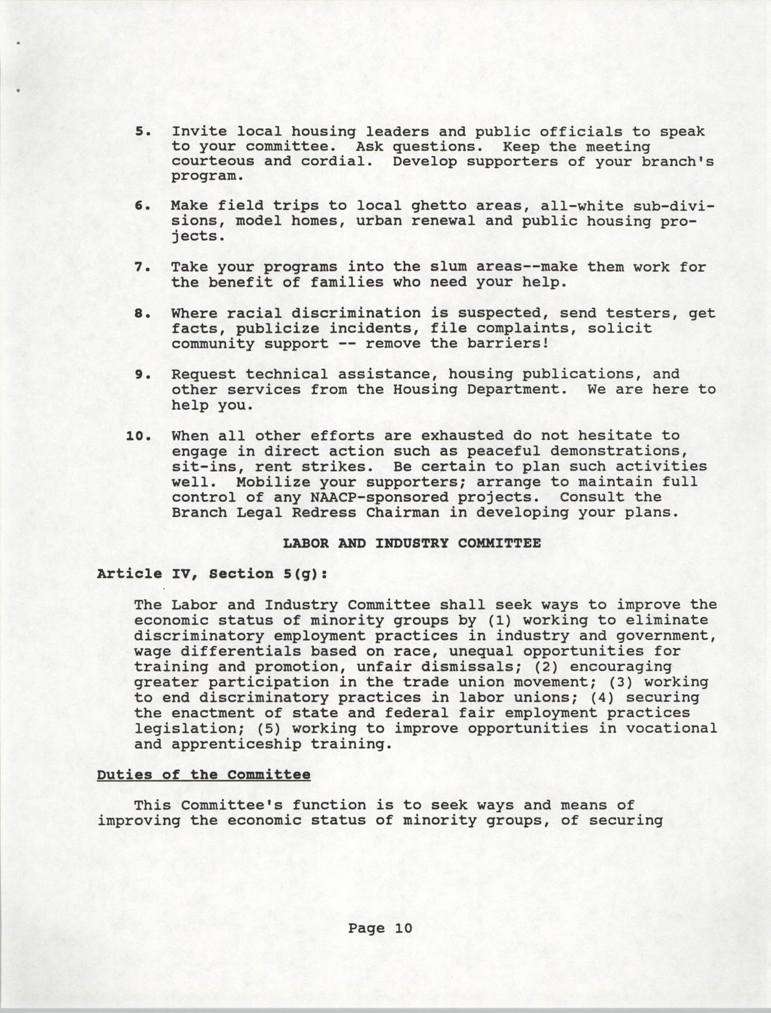 Branch Standing Committees Handbook for the South Carolina Conference of Branches for the NAACP, Page 10