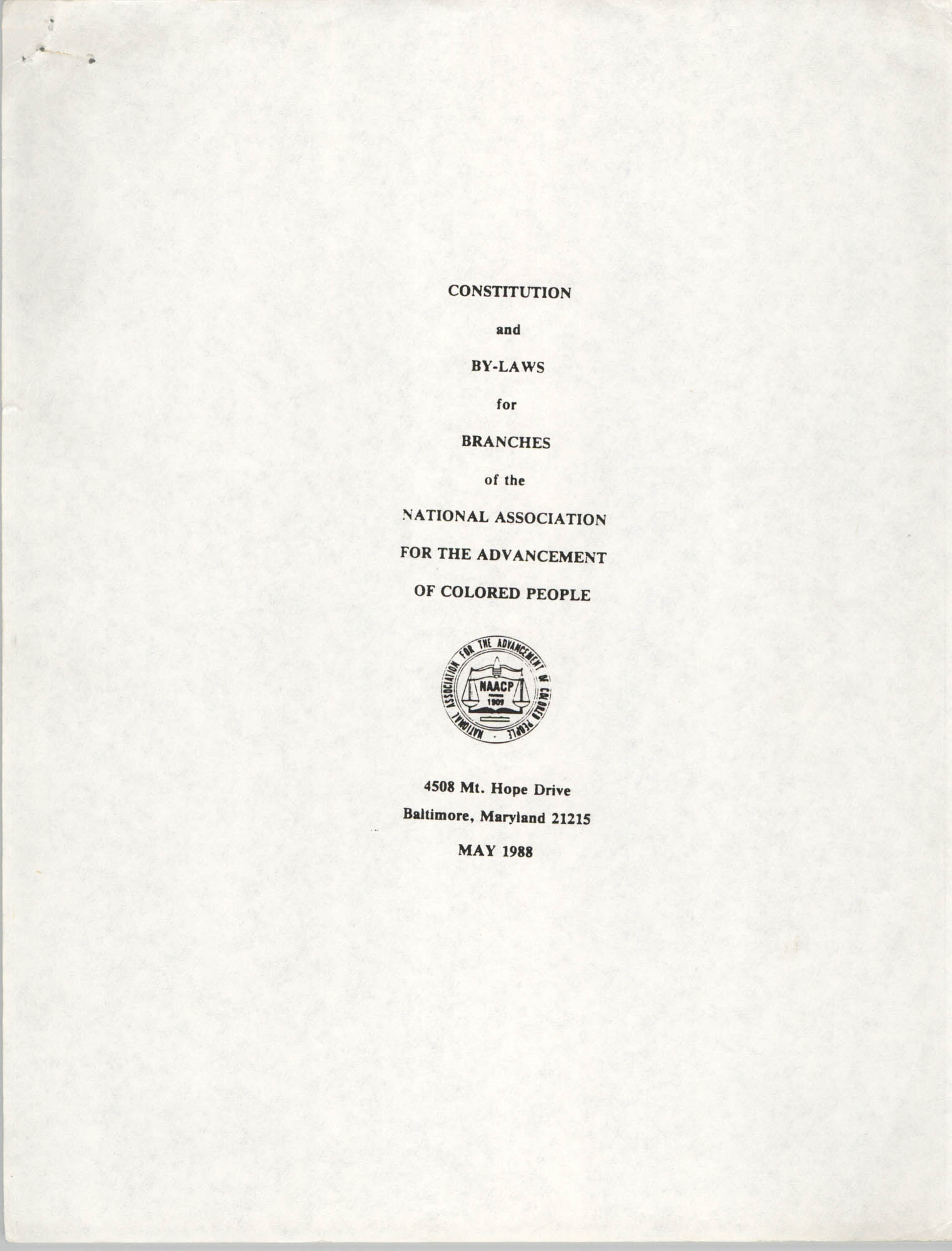 Constitution and By-Laws for Branches of the NAACP, May 1988, Cover