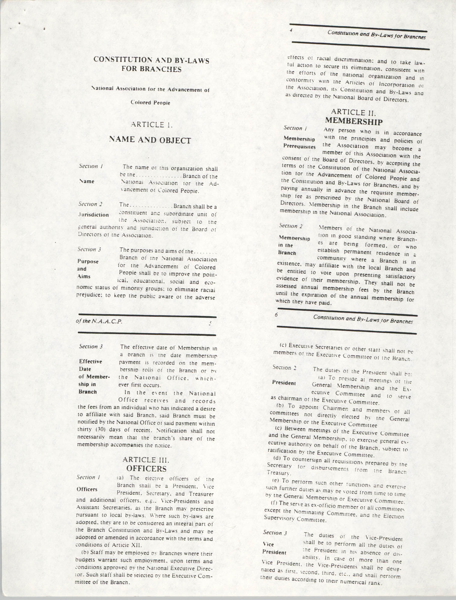 Constitution and By-Laws for Branches of the NAACP, May 1988, Pages 3