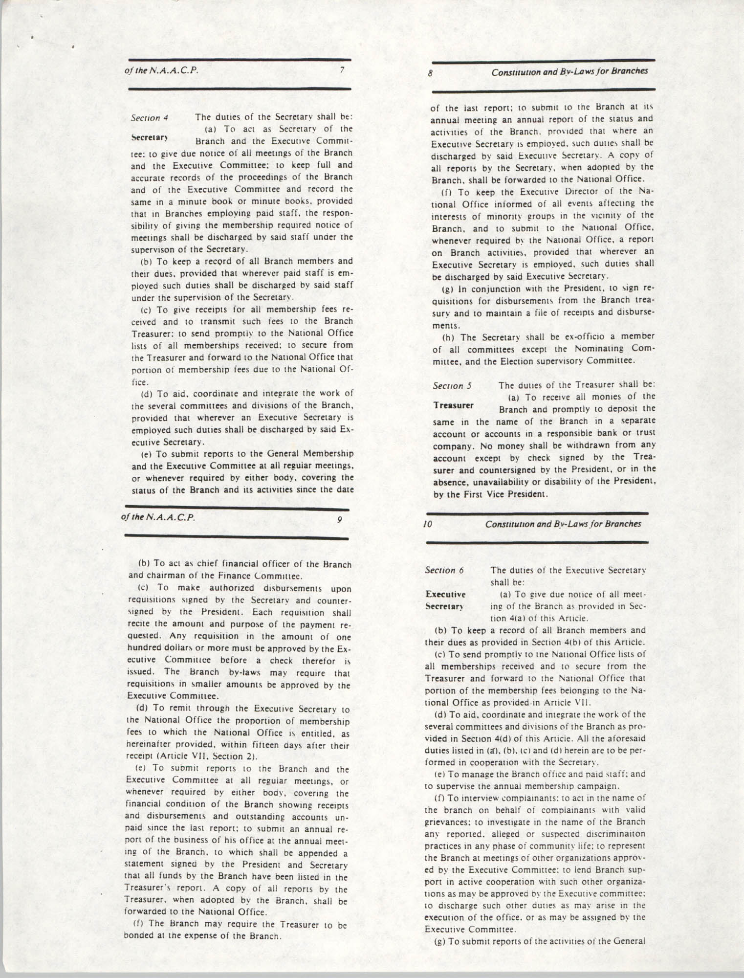 Constitution and By-Laws for Branches of the NAACP, May 1988, Pages 7-10