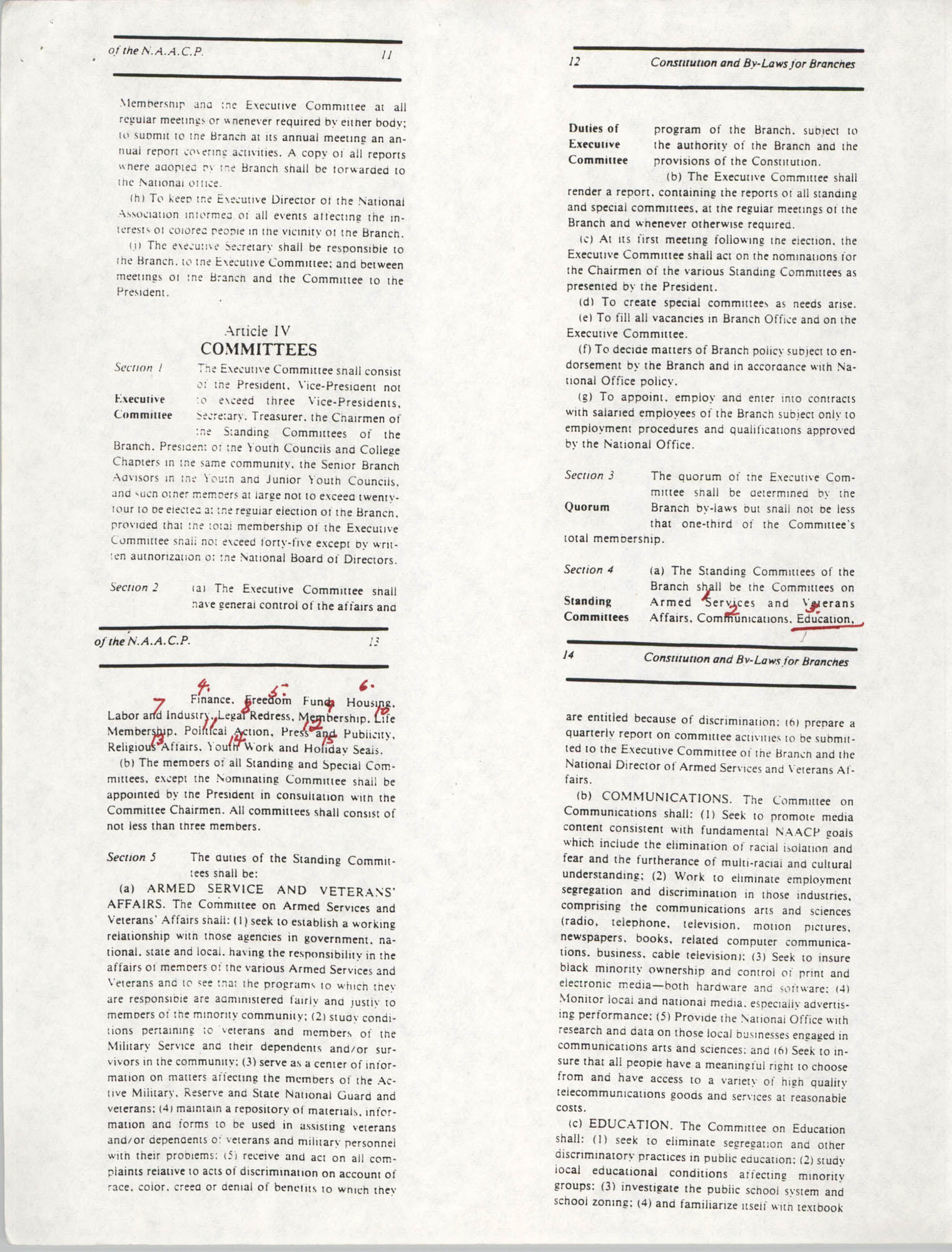 Constitution and By-Laws for Branches of the NAACP, May 1988, Pages 11-14