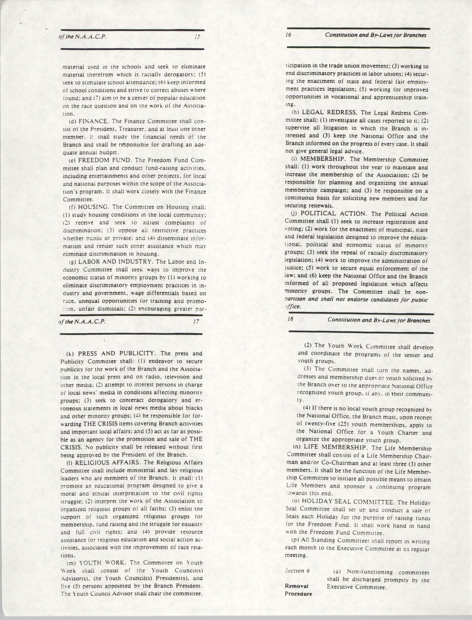 Constitution and By-Laws for Branches of the NAACP, May 1988, Pages 15-18