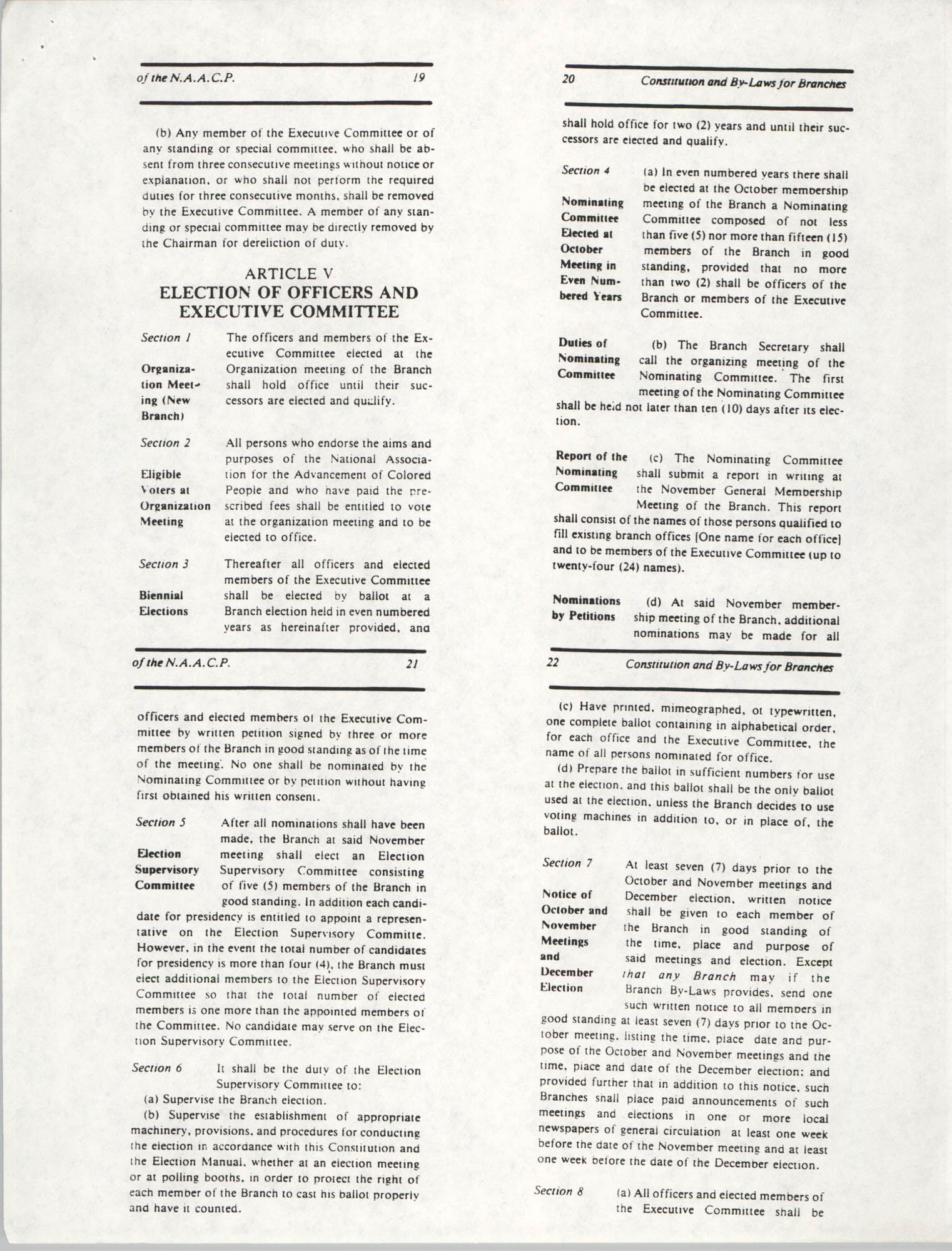 Constitution and By-Laws for Branches of the NAACP, May 1988, Pages 19-22