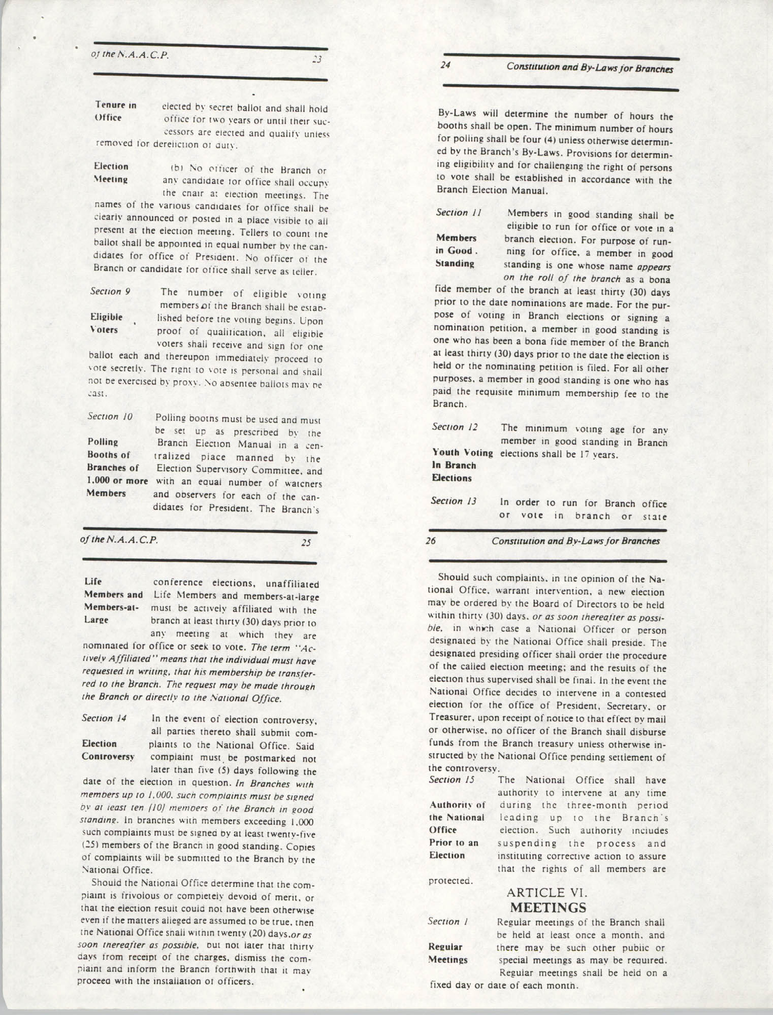 Constitution and By-Laws for Branches of the NAACP, May 1988, Pages 23-26