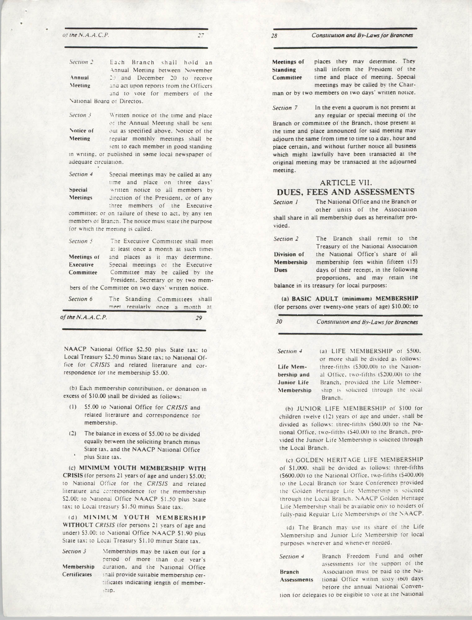 Constitution and By-Laws for Branches of the NAACP, May 1988, Pages 27-30