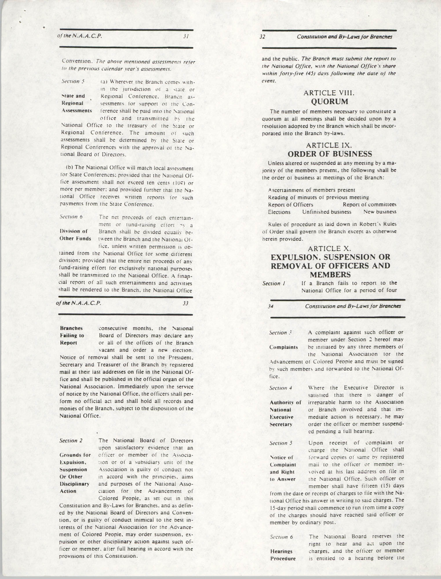 Constitution and By-Laws for Branches of the NAACP, May 1988, Pages 31-34