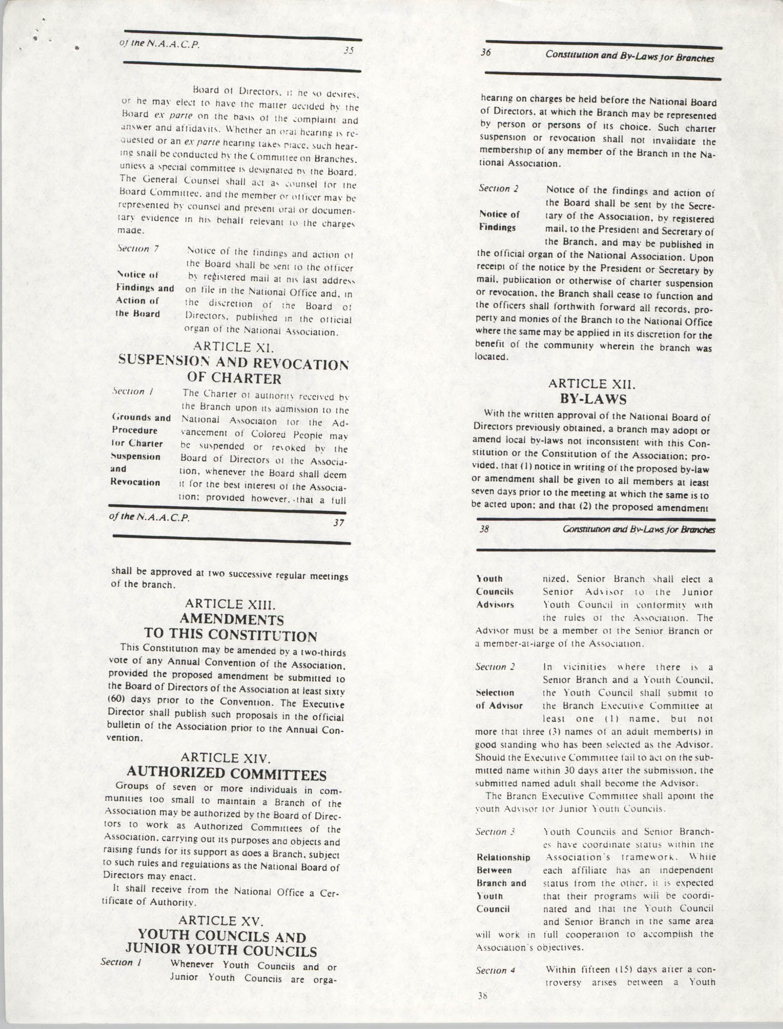 Constitution and By-Laws for Branches of the NAACP, May 1988, Pages 35-38