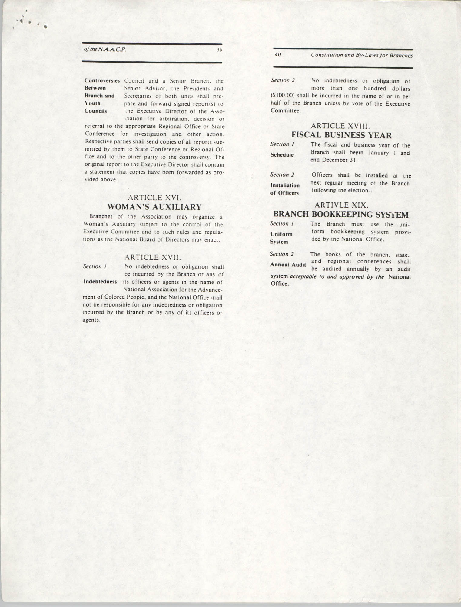 Constitution and By-Laws for Branches of the NAACP, May 1988, Pages 39-40