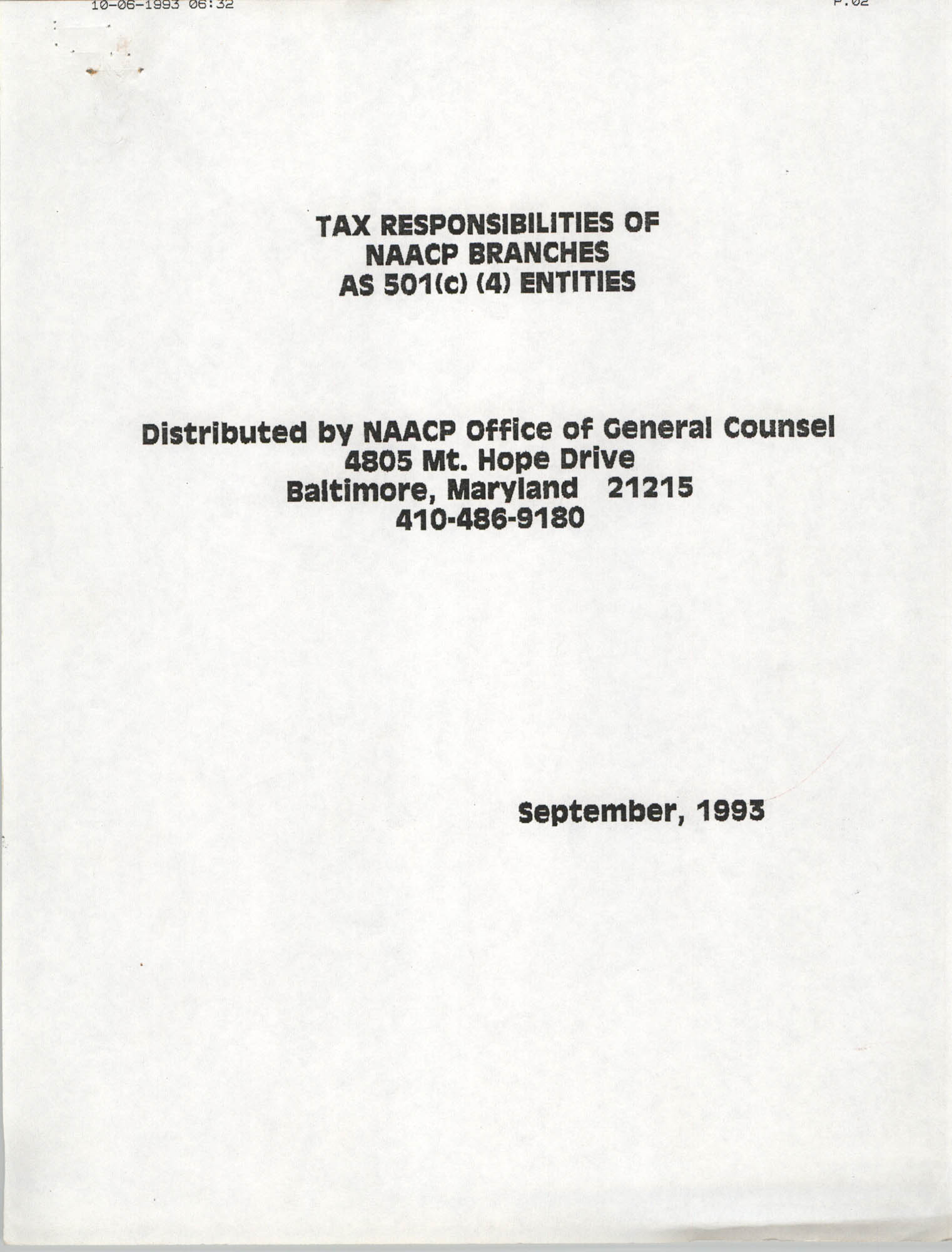 Tax Responsibilities of NAACP Branches as 501(c) (4) Entities, Cover