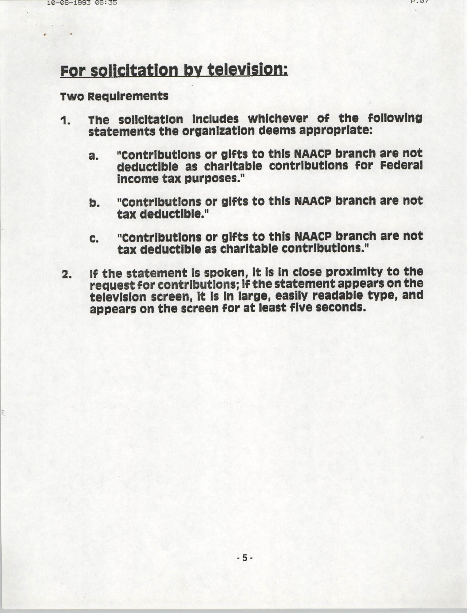 Tax Responsibilities of NAACP Branches as 501(c) (4) Entities, Page 5